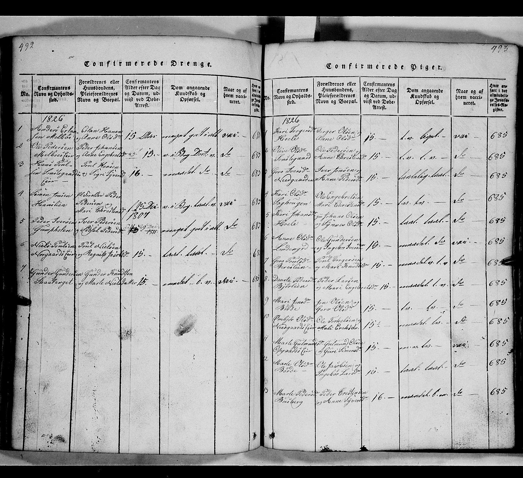SAH, Gausdal prestekontor, Klokkerbok nr. 2, 1818-1874, s. 492-493