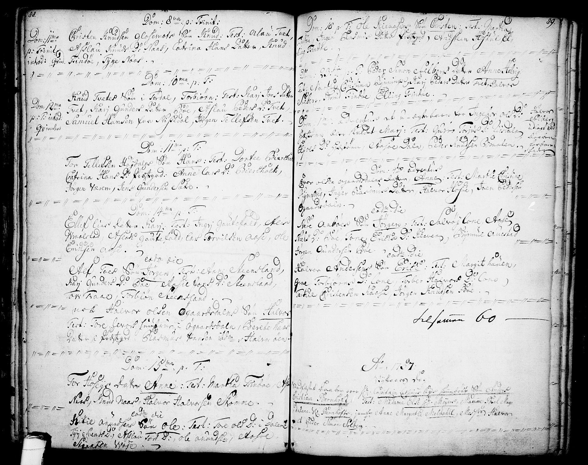 SAKO, Drangedal kirkebøker, F/Fa/L0001: Ministerialbok nr. 1, 1697-1767, s. 88-89