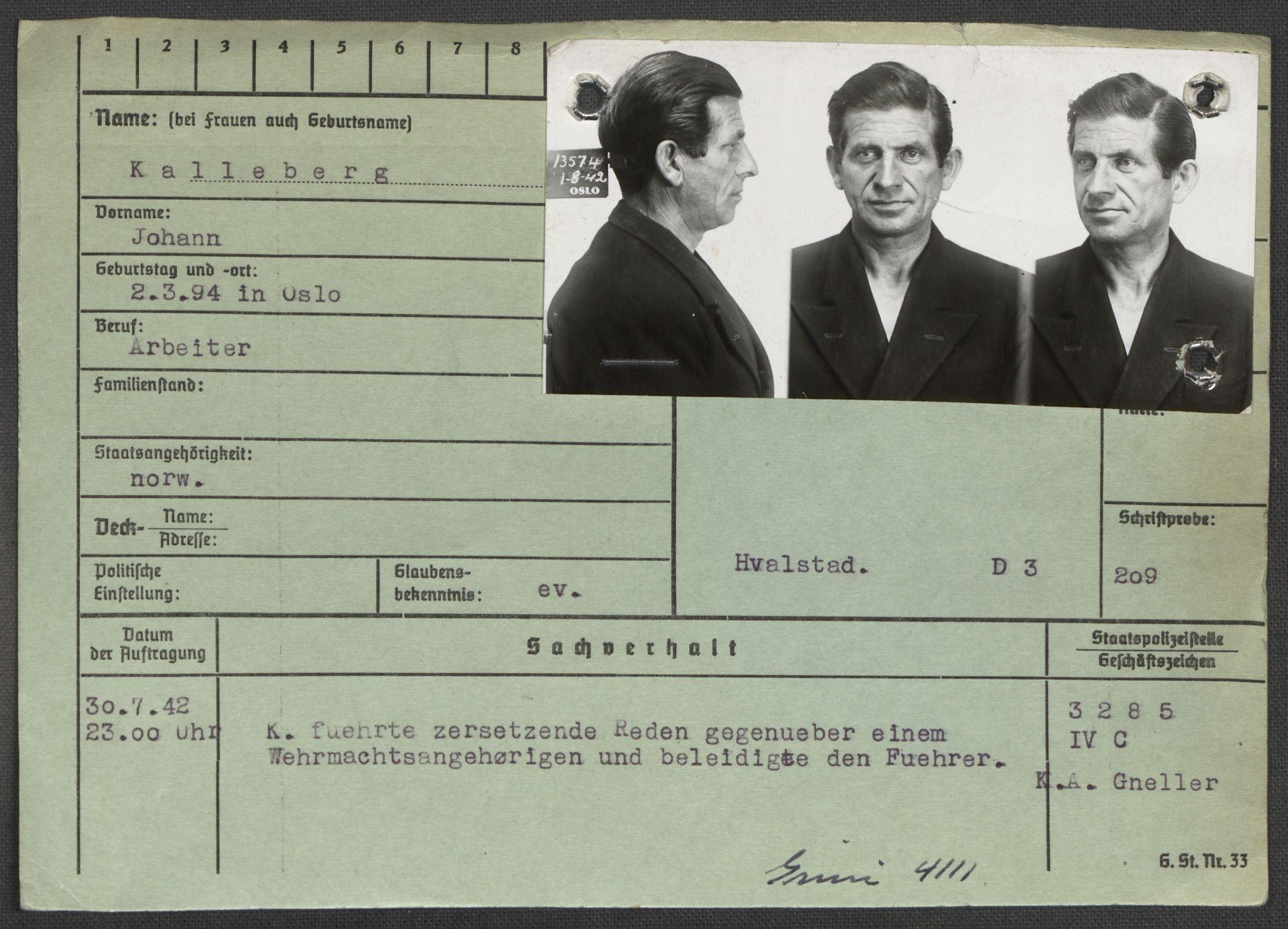 RA, Befehlshaber der Sicherheitspolizei und des SD, E/Ea/Eaa/L0005: Register over norske fanger i Møllergata 19: Hø-Kj, 1940-1945, s. 1151