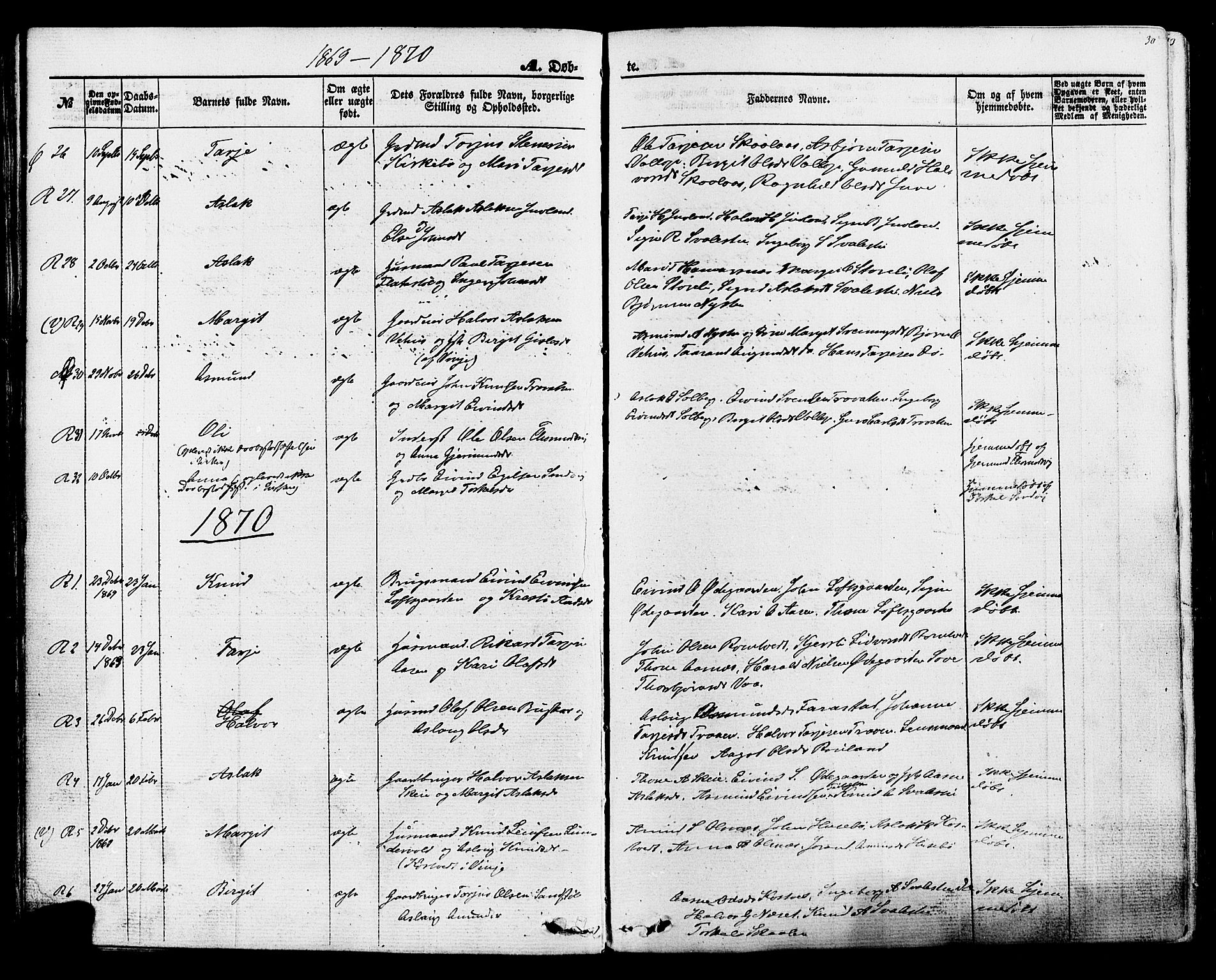 SAKO, Rauland kirkebøker, F/Fa/L0003: Ministerialbok nr. 3, 1859-1886, s. 30
