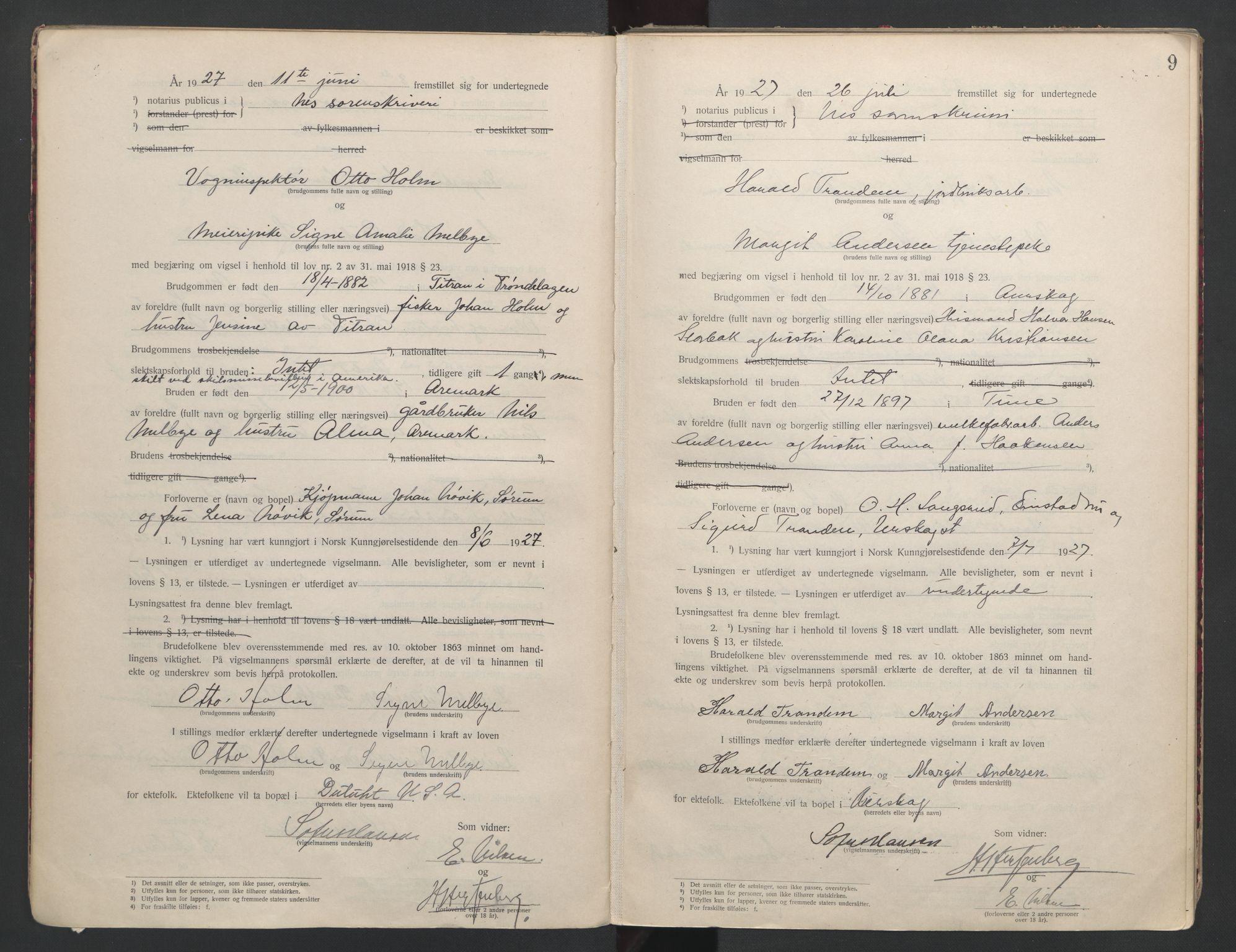 SAO, Nes tingrett, L/Lc/Lca/L0001: Vigselbok, 1920-1943, s. 9