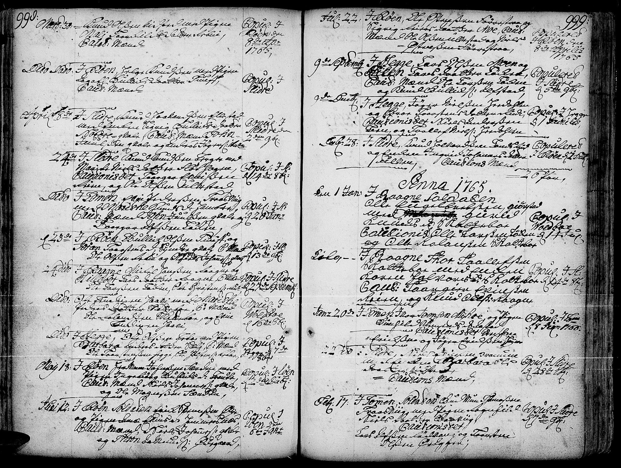 SAH, Slidre prestekontor, Ministerialbok nr. 1, 1724-1814, s. 998-999