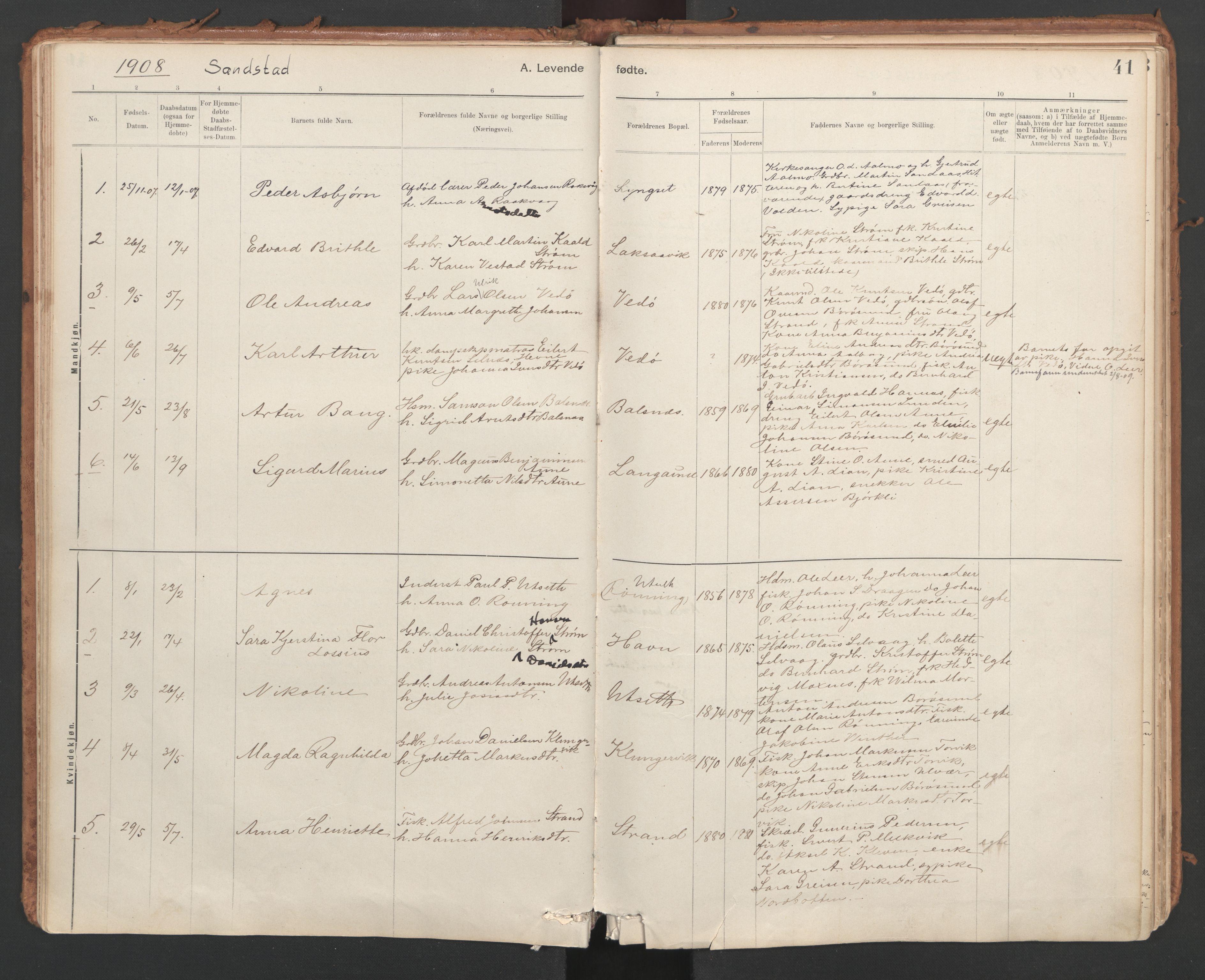 SAT, Ministerialprotokoller, klokkerbøker og fødselsregistre - Sør-Trøndelag, 639/L0572: Ministerialbok nr. 639A01, 1890-1920, s. 41