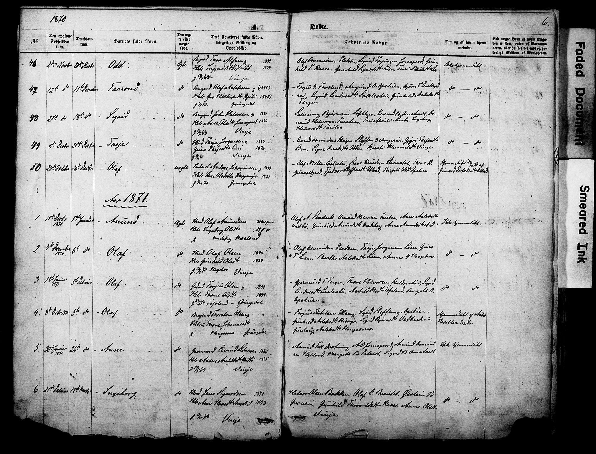 SAKO, Vinje kirkebøker, F/Fa/L0005: Ministerialbok nr. I 5, 1870-1886, s. 6