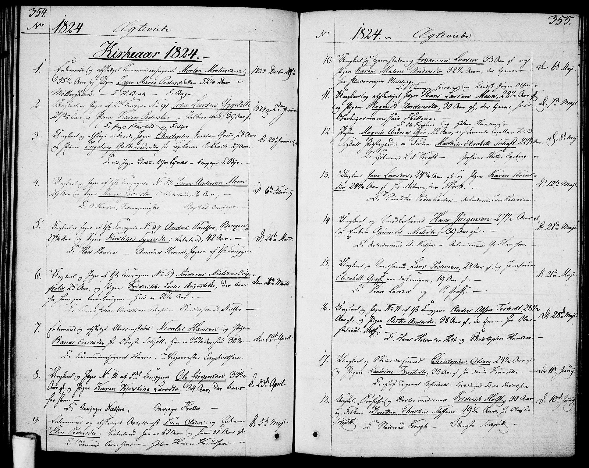 SAO, Garnisonsmenigheten Kirkebøker, F/Fa/L0004: Ministerialbok nr. 4, 1820-1828, s. 354-355