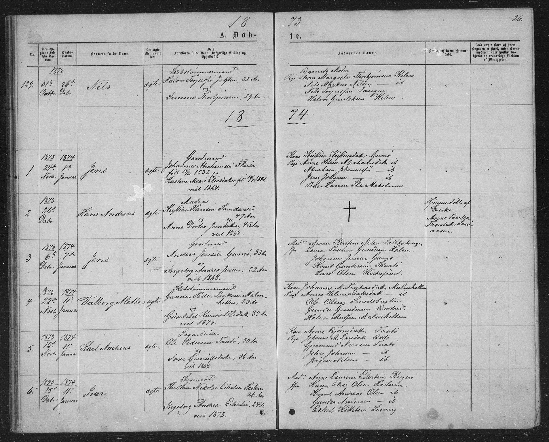 SAKO, Skåtøy kirkebøker, G/Ga/L0002: Klokkerbok nr. I 2, 1872-1884, s. 26