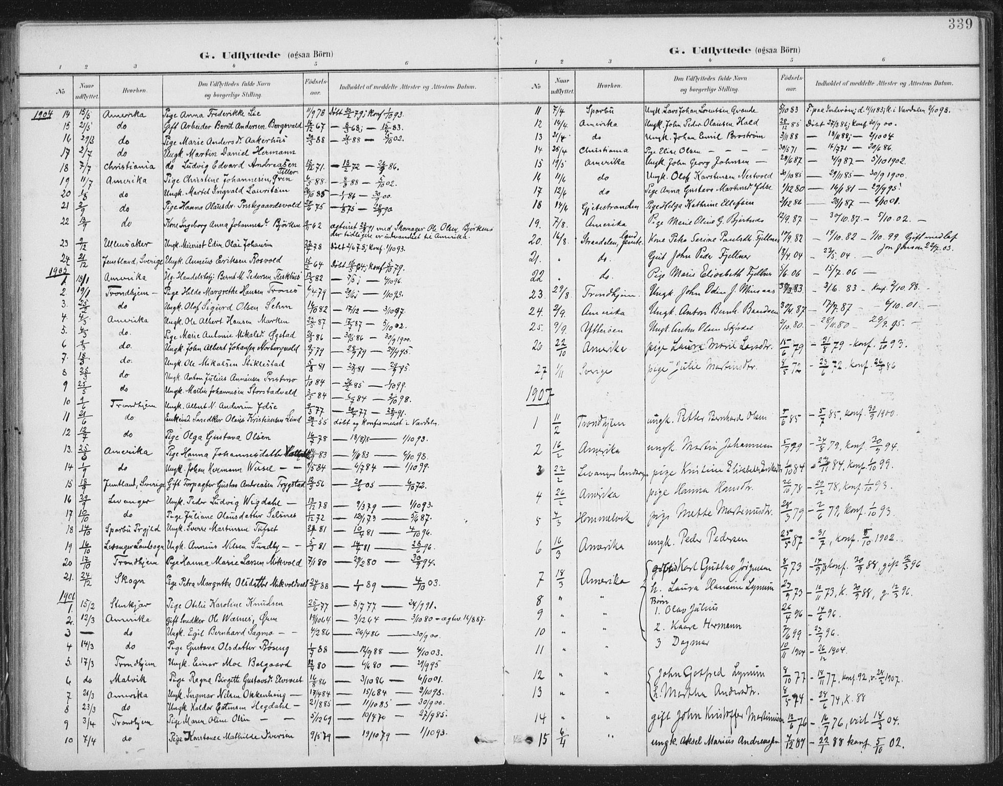 SAT, Ministerialprotokoller, klokkerbøker og fødselsregistre - Nord-Trøndelag, 723/L0246: Ministerialbok nr. 723A15, 1900-1917, s. 339