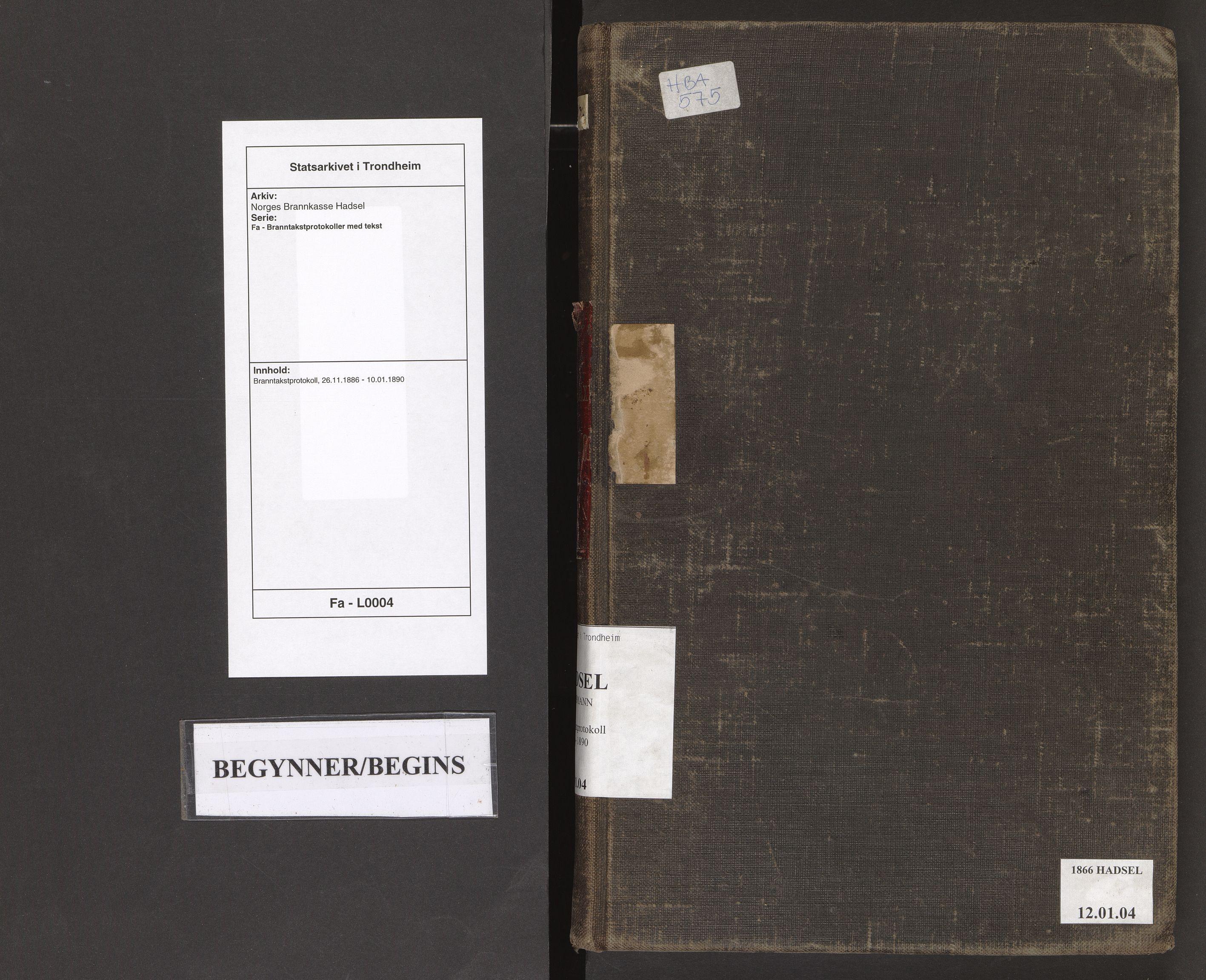 SAT, Norges Brannkasse Hadsel, Fa/L0004: Branntakstprotokoll, 1886-1890