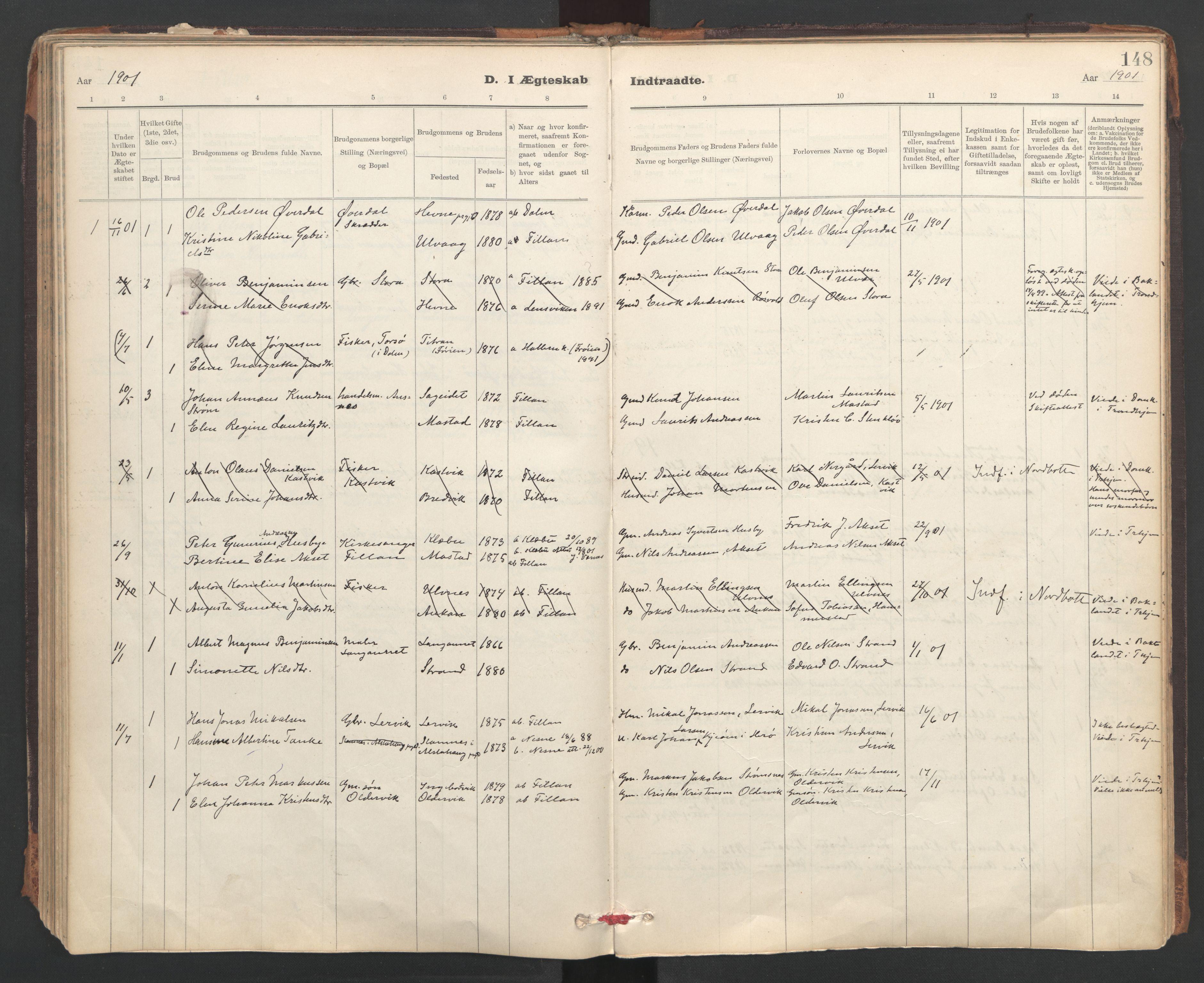 SAT, Ministerialprotokoller, klokkerbøker og fødselsregistre - Sør-Trøndelag, 637/L0559: Ministerialbok nr. 637A02, 1899-1923, s. 148