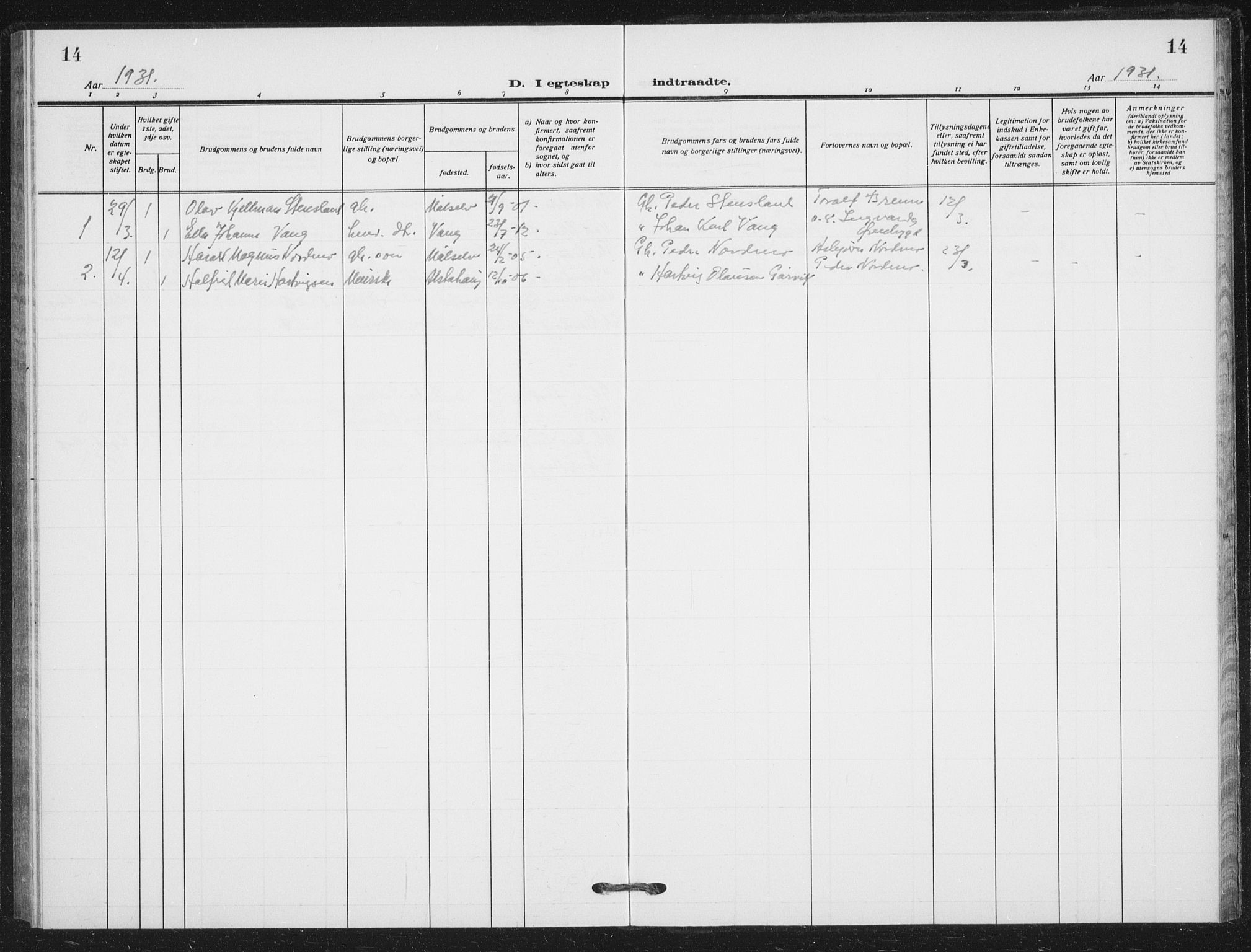 SATØ, Målselv sokneprestembete, G/Ga/Gab/L0012klokker: Klokkerbok nr. 12, 1900-1936, s. 14