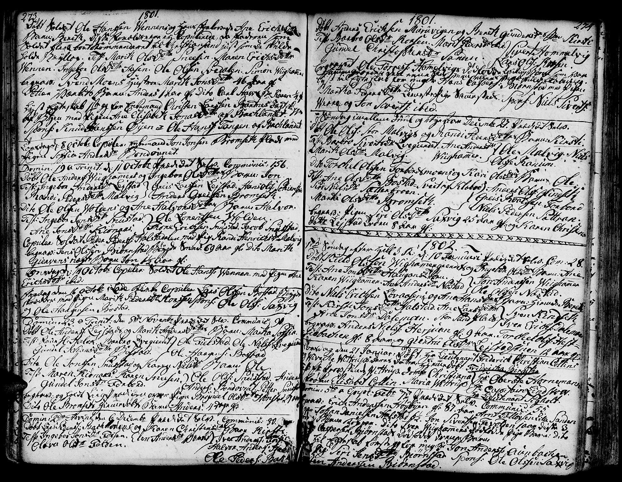SAT, Ministerialprotokoller, klokkerbøker og fødselsregistre - Sør-Trøndelag, 606/L0281: Ministerialbok nr. 606A02 /2, 1781-1817, s. 273-274