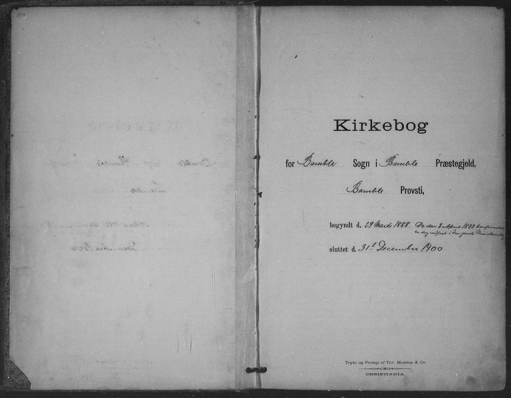 SAKO, Bamble kirkebøker, F/Fa/L0008: Ministerialbok nr. I 8, 1888-1900