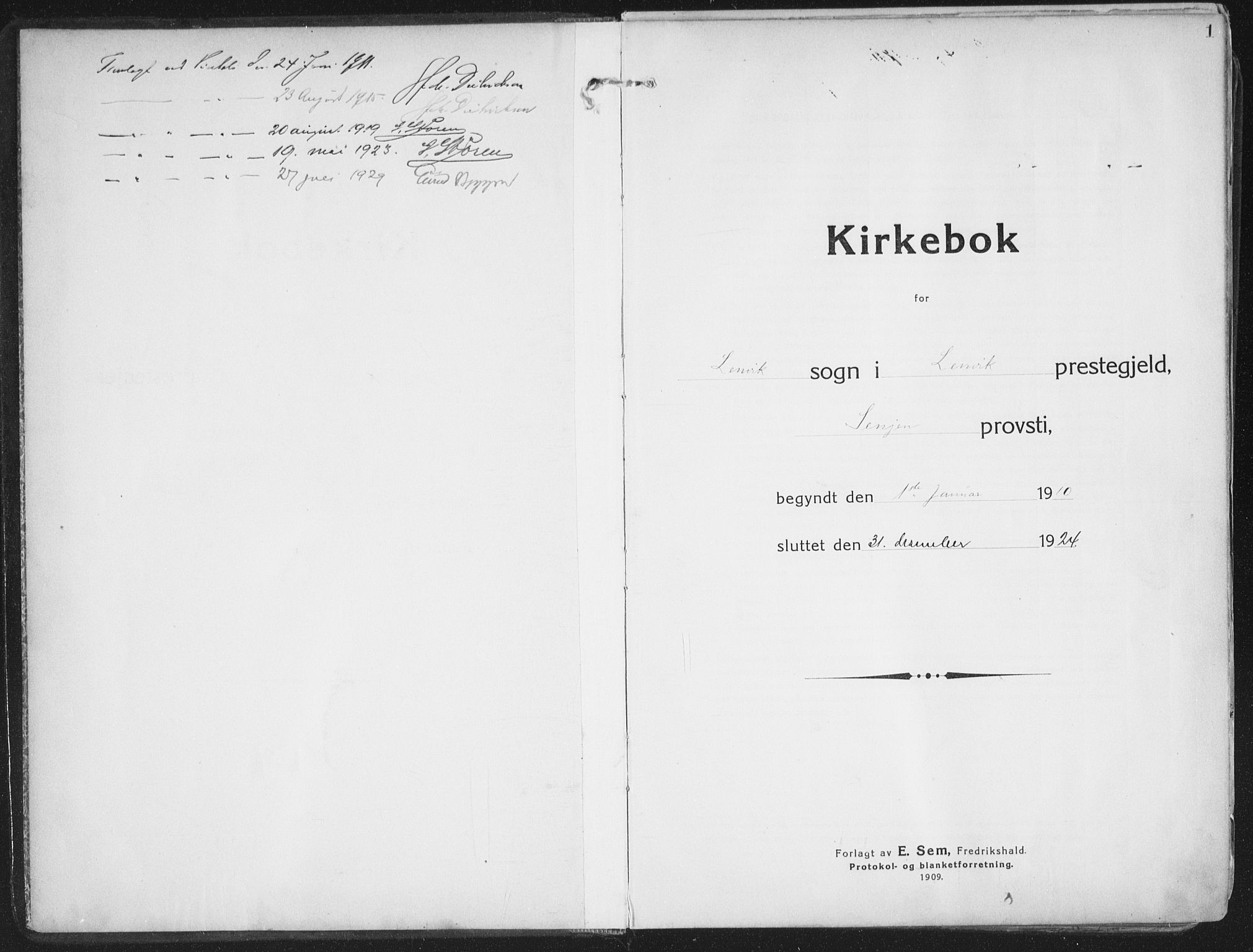 SATØ, Lenvik sokneprestembete, H/Ha: Ministerialbok nr. 16, 1910-1924, s. 1