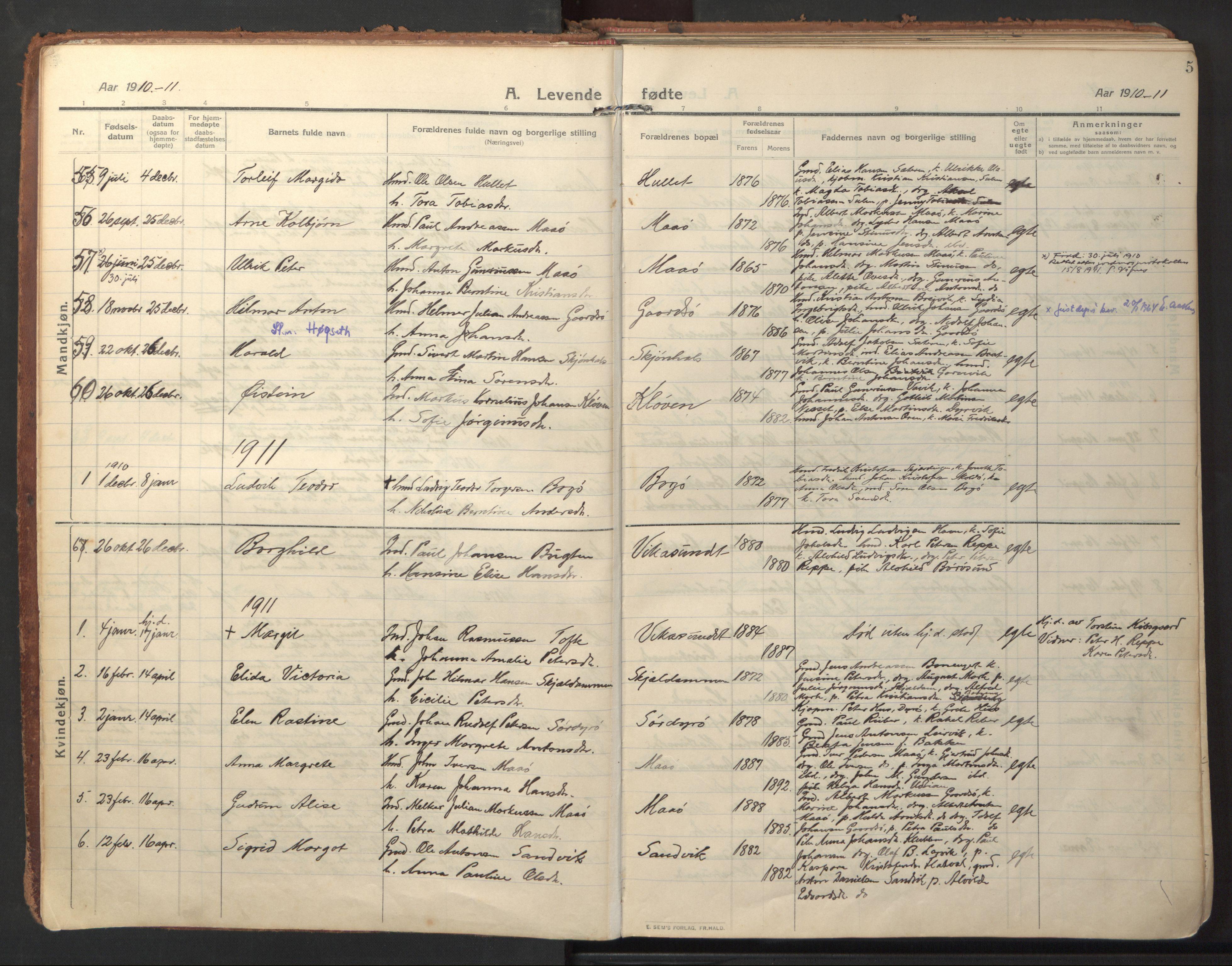 SAT, Ministerialprotokoller, klokkerbøker og fødselsregistre - Sør-Trøndelag, 640/L0581: Ministerialbok nr. 640A06, 1910-1924, s. 5