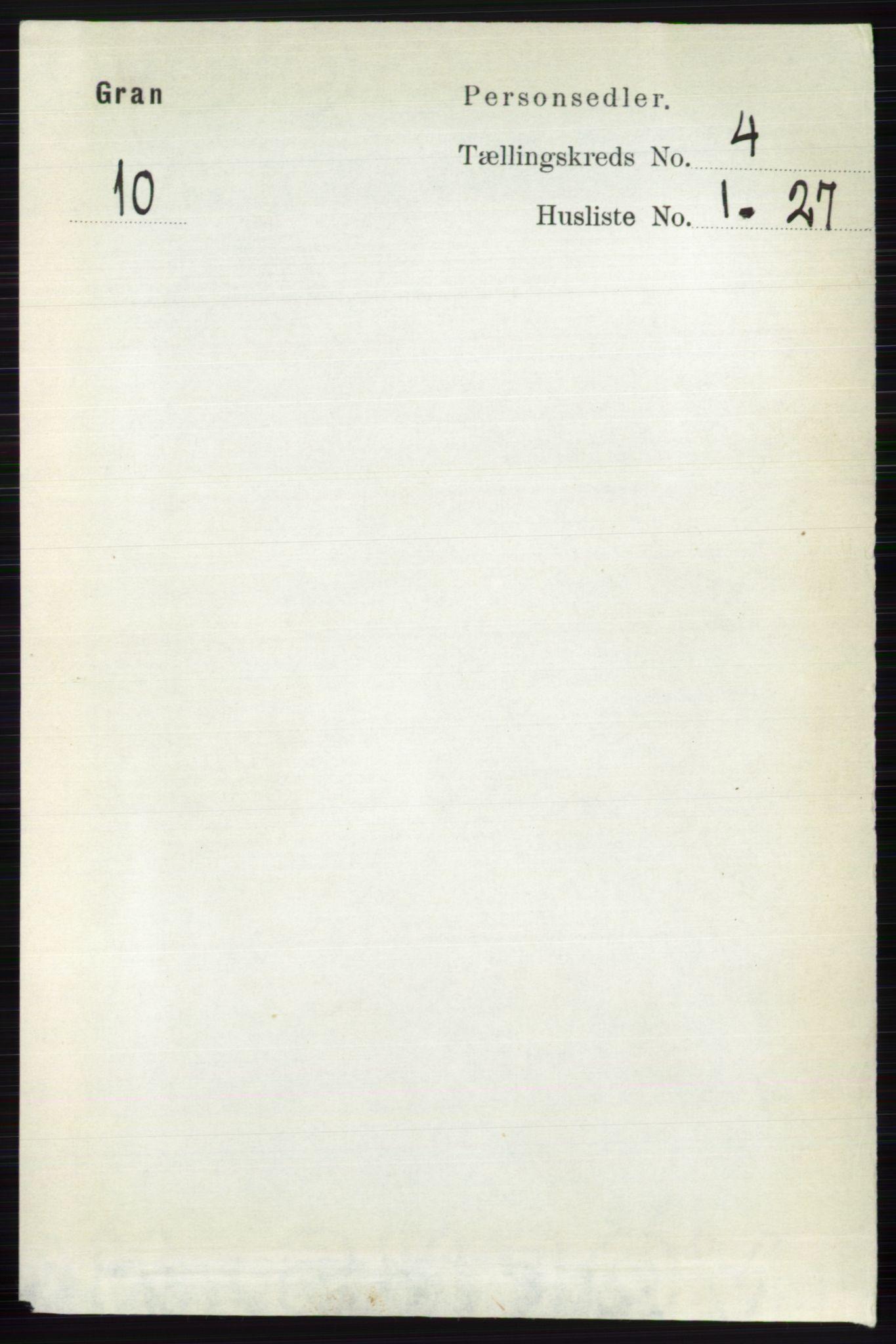 RA, Folketelling 1891 for 0534 Gran herred, 1891, s. 1150