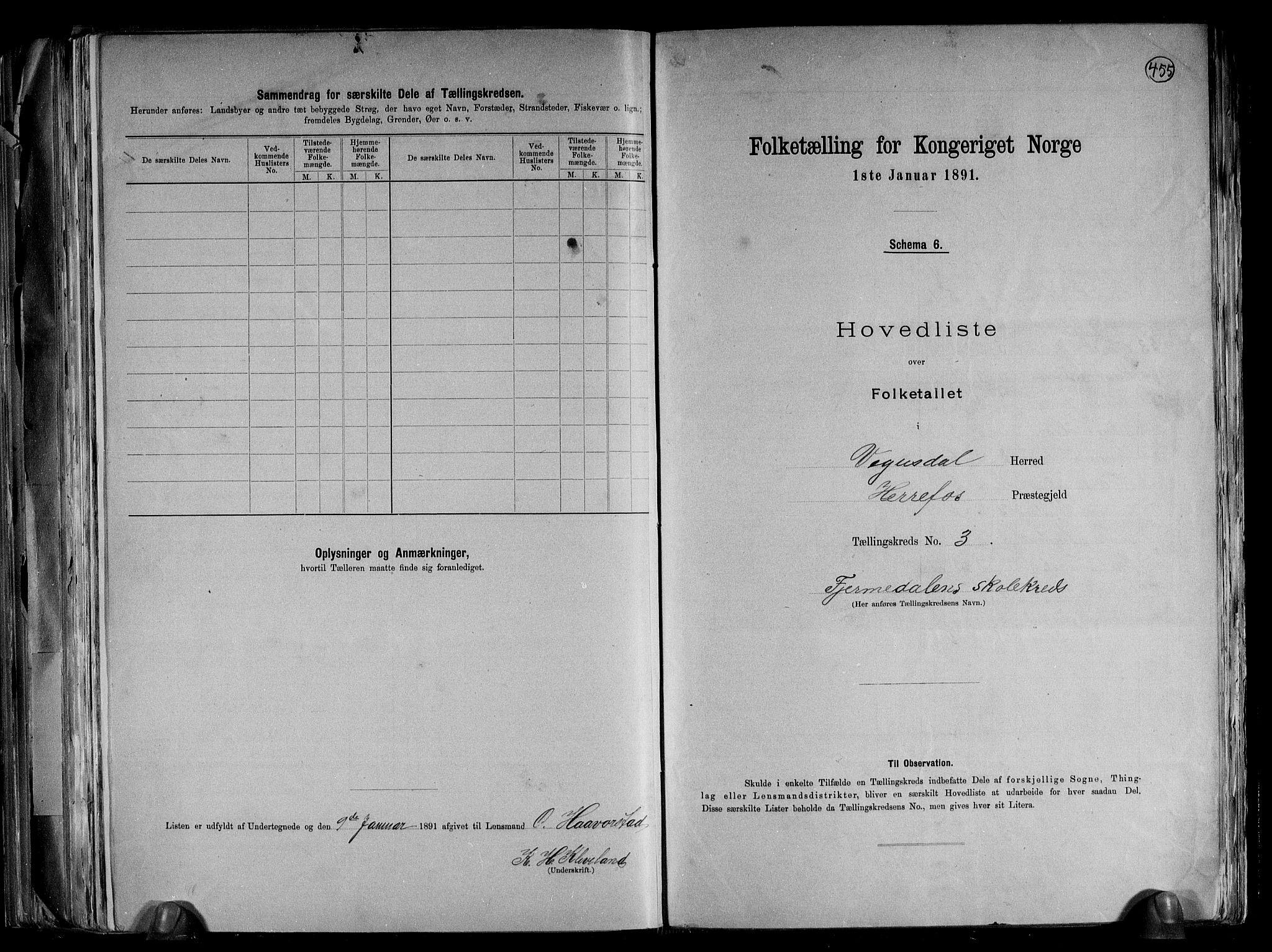 RA, Folketelling 1891 for 0934 Vegusdal herred, 1891, s. 9