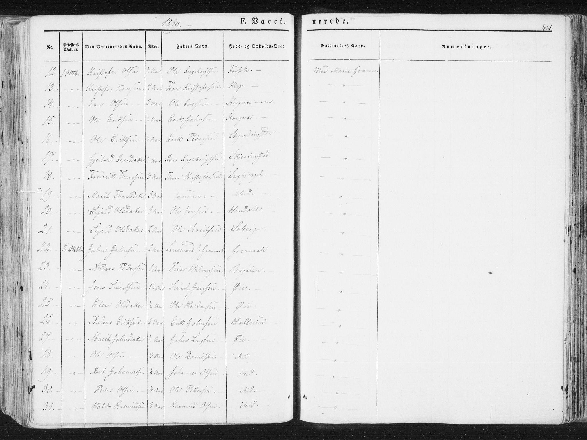 SAT, Ministerialprotokoller, klokkerbøker og fødselsregistre - Sør-Trøndelag, 691/L1074: Ministerialbok nr. 691A06, 1842-1852, s. 461
