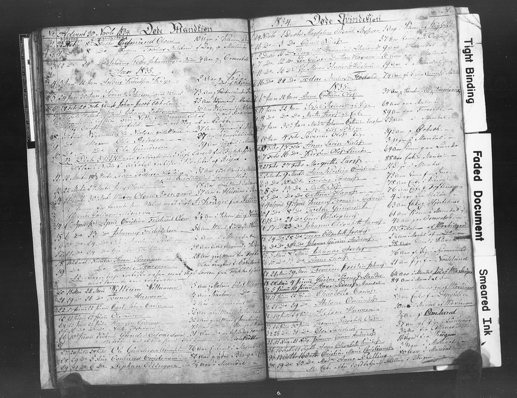 SAK, Mandal sokneprestkontor, F/Fb/Fba/L0003: Klokkerbok nr. B 1C, 1834-1838, s. 31