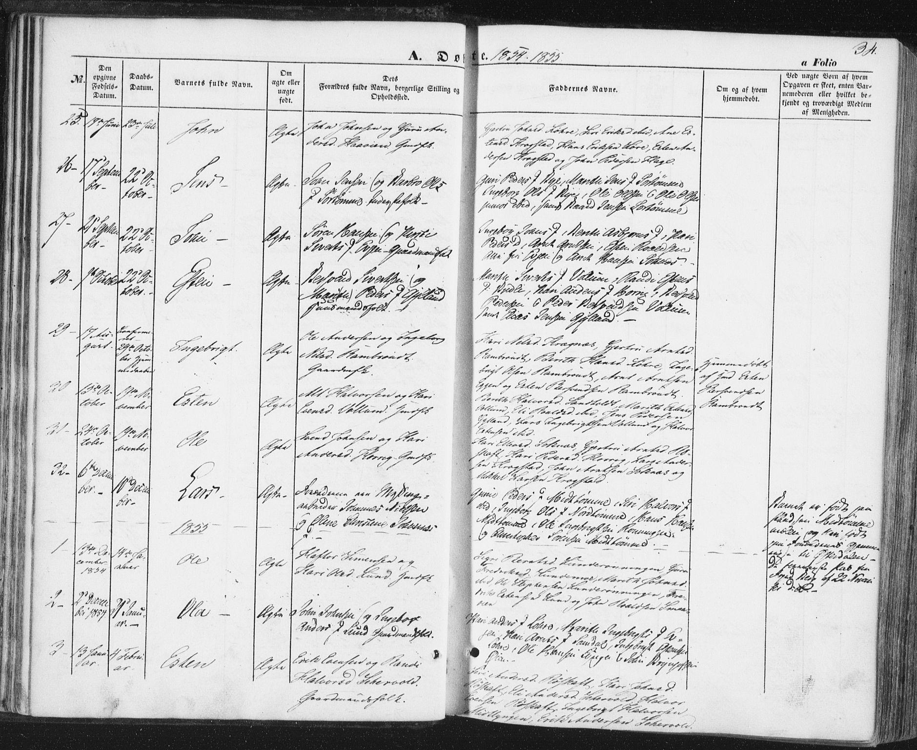 SAT, Ministerialprotokoller, klokkerbøker og fødselsregistre - Sør-Trøndelag, 692/L1103: Ministerialbok nr. 692A03, 1849-1870, s. 34