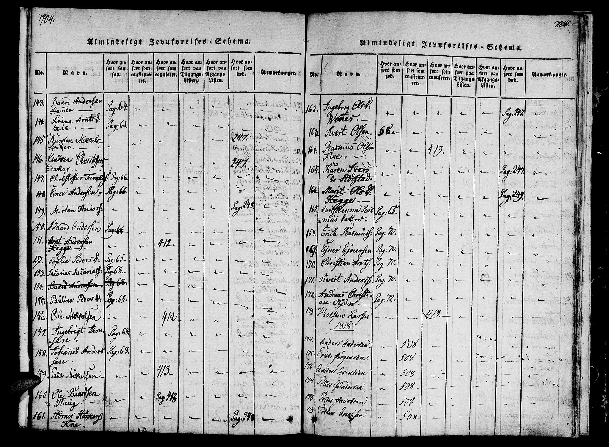 SAT, Ministerialprotokoller, klokkerbøker og fødselsregistre - Nord-Trøndelag, 746/L0441: Ministerialbok nr. 746A03 /2, 1816-1827, s. 704-705