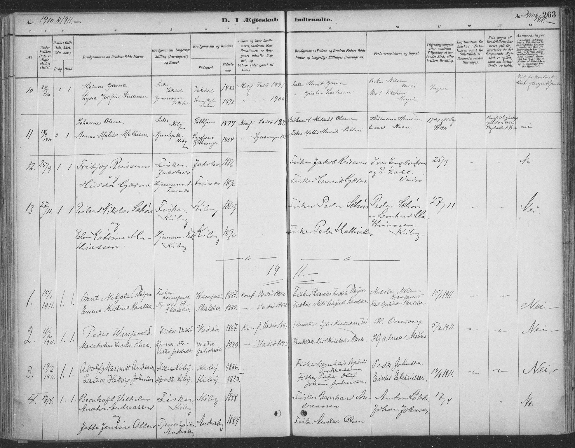 SATØ, Vadsø sokneprestkontor, H/Ha/L0009kirke: Ministerialbok nr. 9, 1881-1917, s. 263