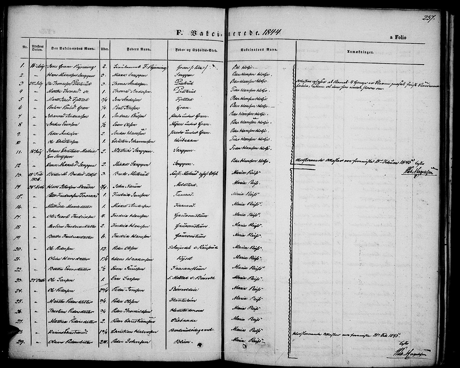SAH, Vestre Toten prestekontor, H/Ha/Haa/L0004: Ministerialbok nr. 4, 1844-1849, s. 257