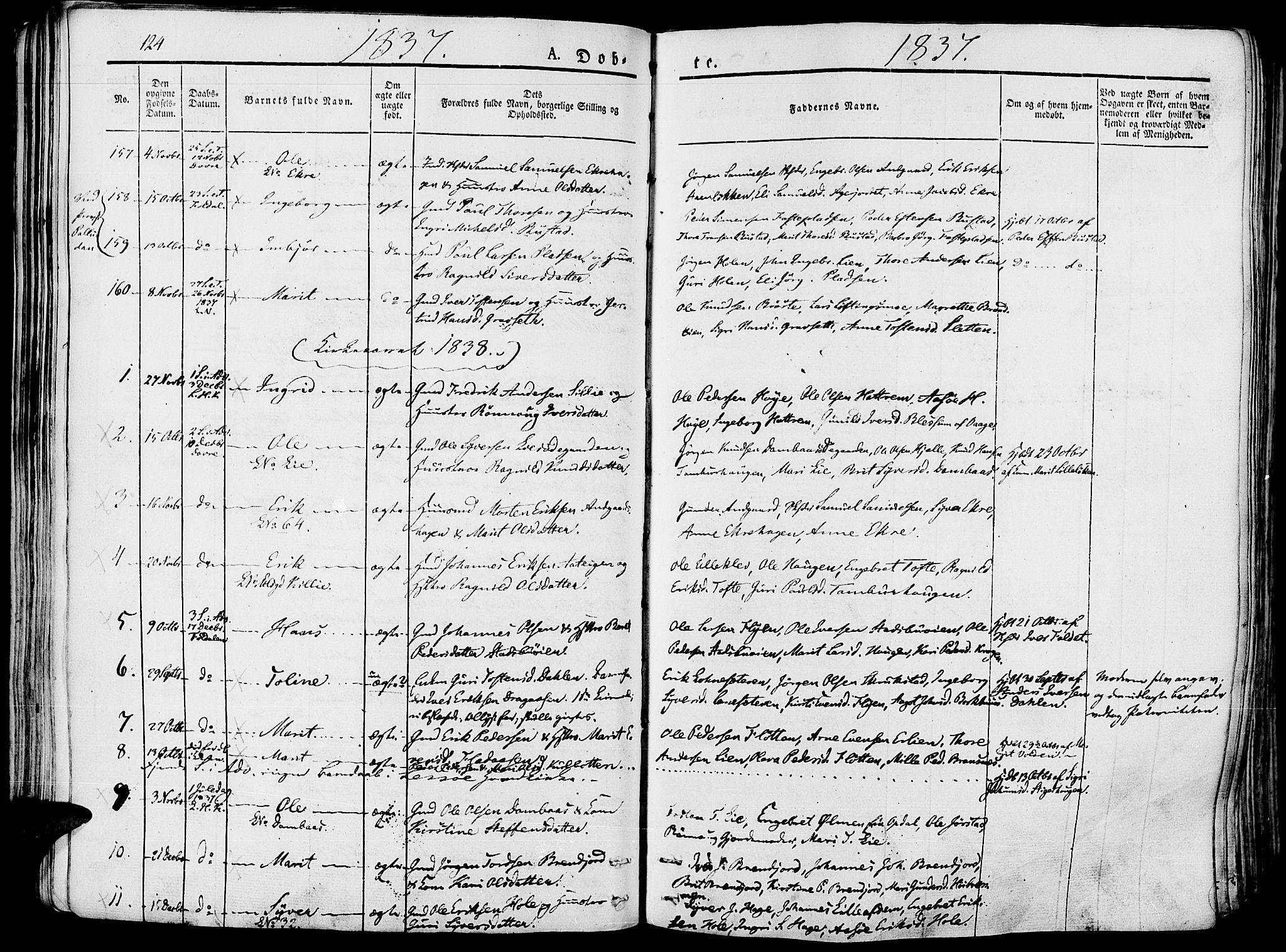 SAH, Lesja prestekontor, Ministerialbok nr. 5, 1830-1842, s. 124