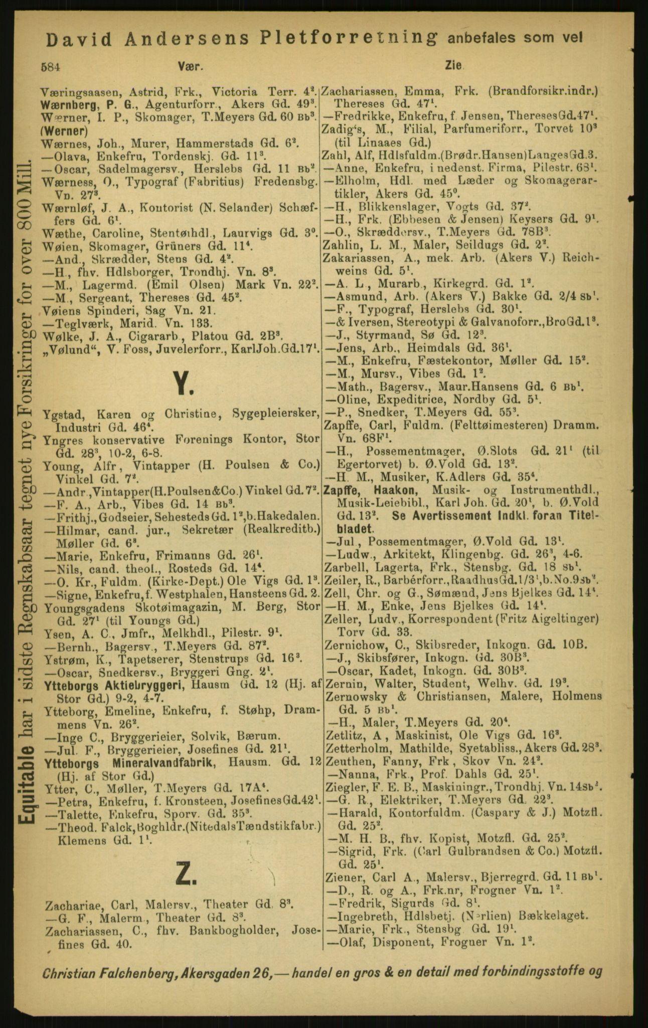 PUBL, Kristiania/Oslo adressebok, 1897, s. 584