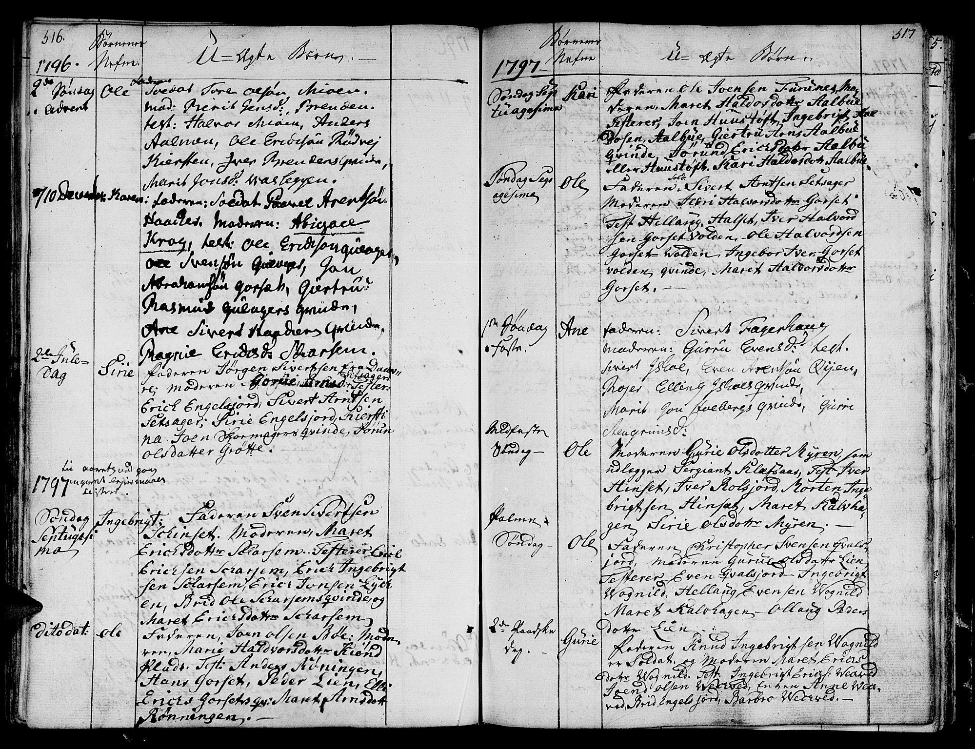 SAT, Ministerialprotokoller, klokkerbøker og fødselsregistre - Sør-Trøndelag, 678/L0893: Ministerialbok nr. 678A03, 1792-1805, s. 516-517
