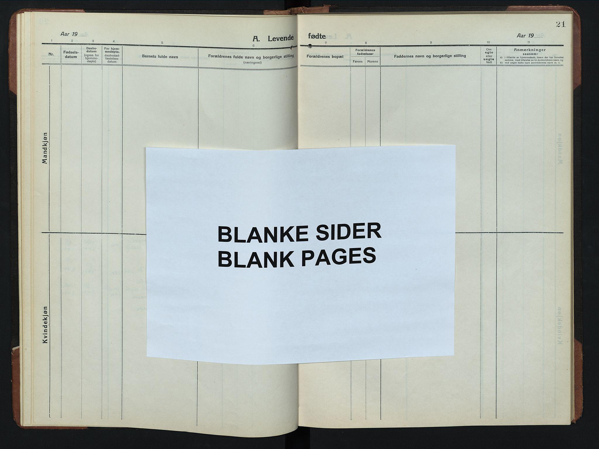 SAH, Rendalen prestekontor, H/Ha/Hab/L0008: Klokkerbok nr. 8, 1914-1948, s. 21