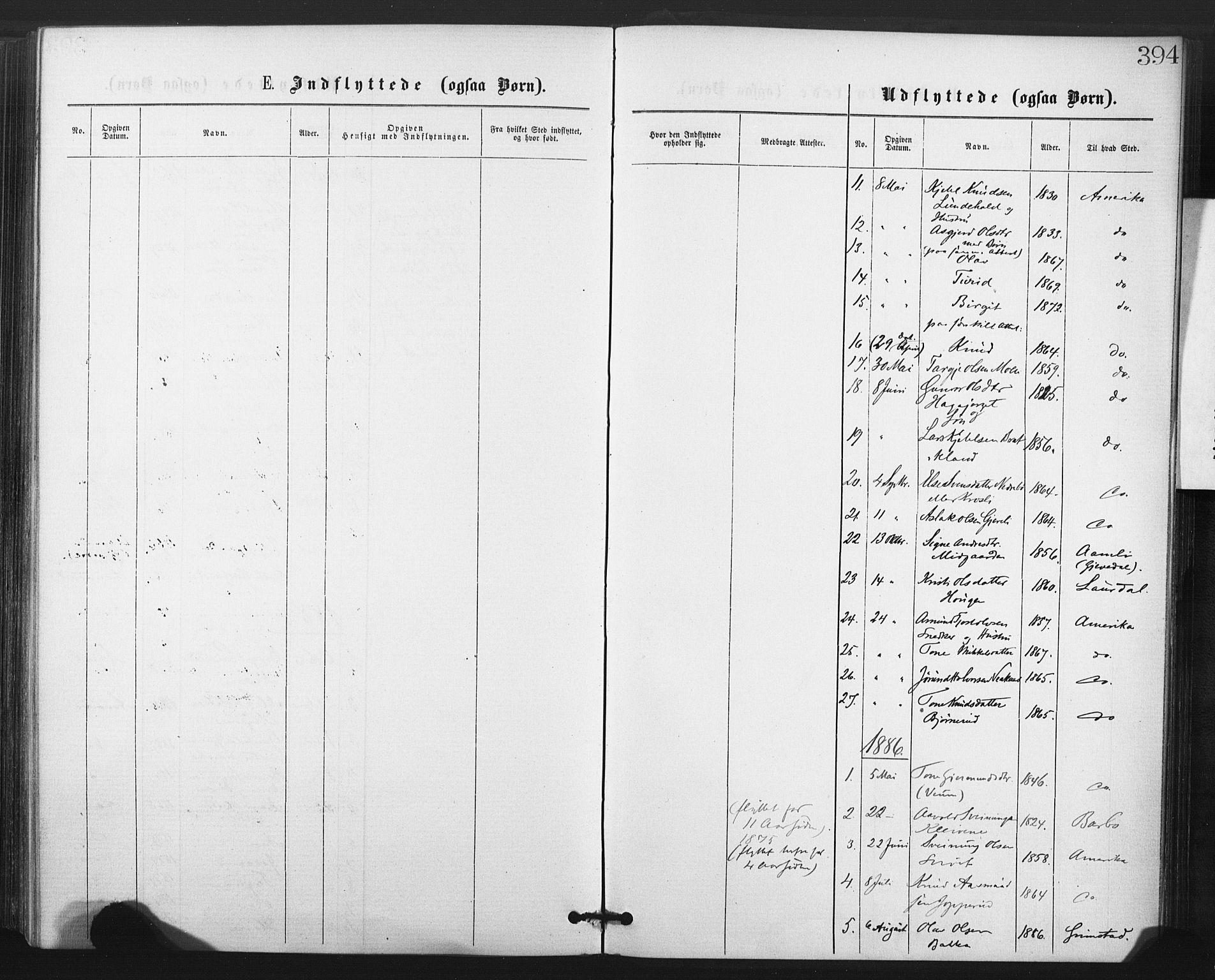 SAKO, Fyresdal kirkebøker, F/Fa/L0006: Ministerialbok nr. I 6, 1872-1886, s. 394