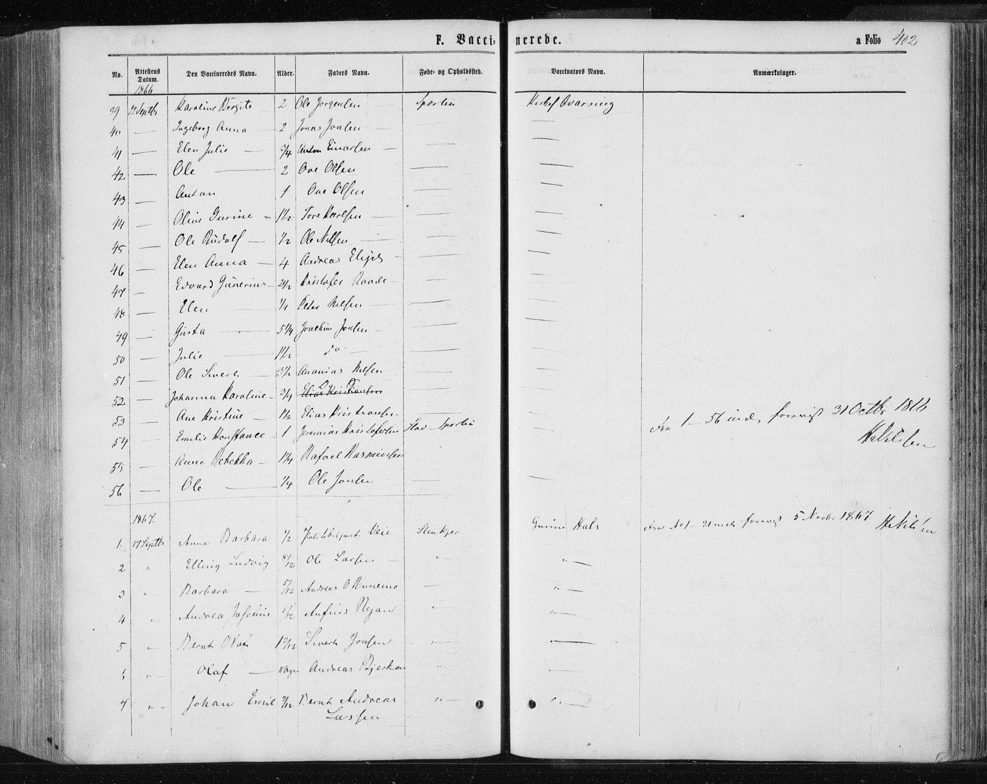 SAT, Ministerialprotokoller, klokkerbøker og fødselsregistre - Nord-Trøndelag, 735/L0345: Ministerialbok nr. 735A08 /1, 1863-1872, s. 402