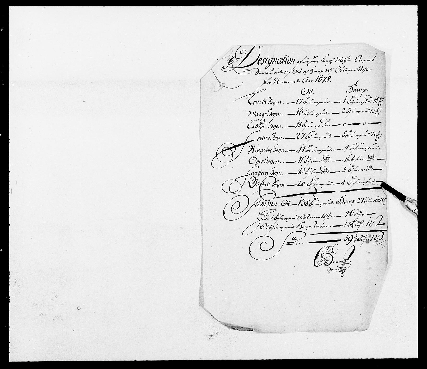 RA, Rentekammeret inntil 1814, Reviderte regnskaper, Fogderegnskap, R17/L1152: Fogderegnskap Gudbrandsdal, 1678-1679, s. 374