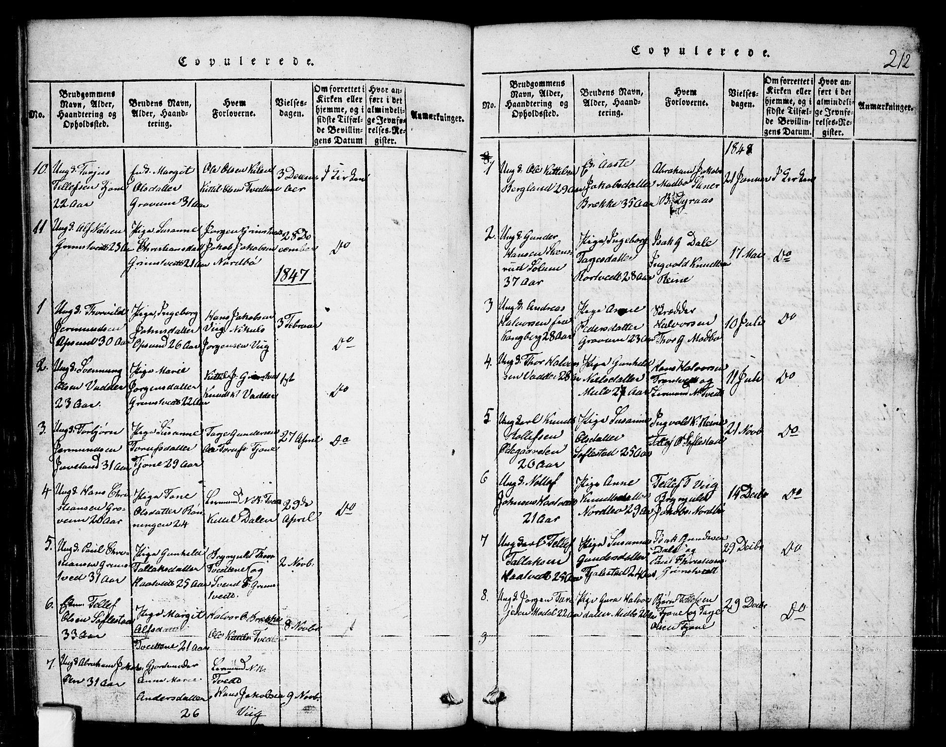 SAKO, Nissedal kirkebøker, G/Ga/L0001: Klokkerbok nr. I 1, 1814-1860, s. 212
