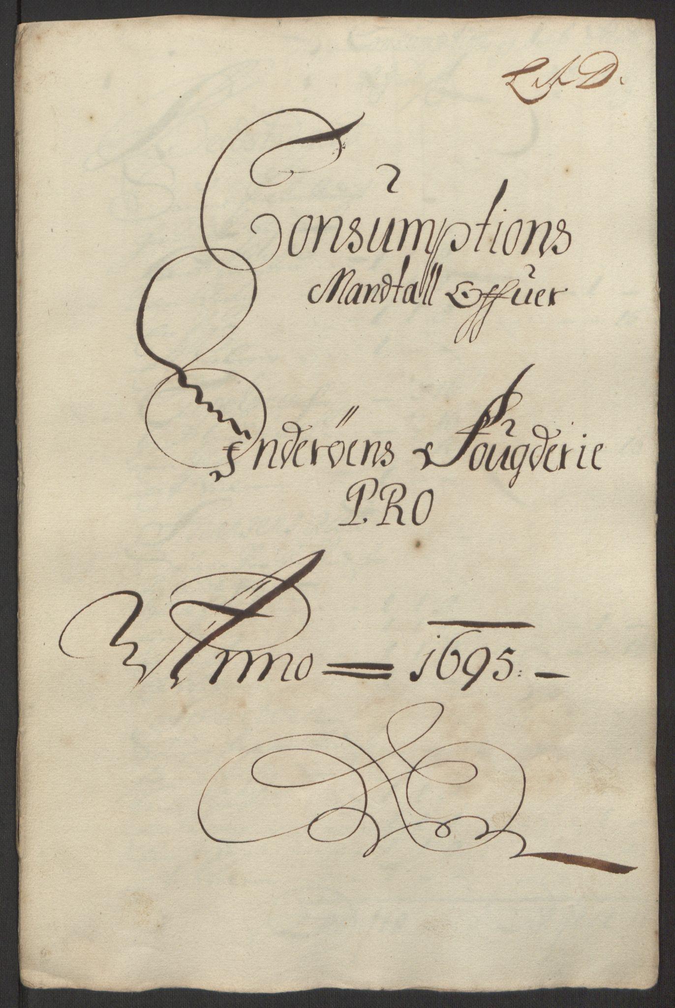 RA, Rentekammeret inntil 1814, Reviderte regnskaper, Fogderegnskap, R63/L4309: Fogderegnskap Inderøy, 1695-1697, s. 32