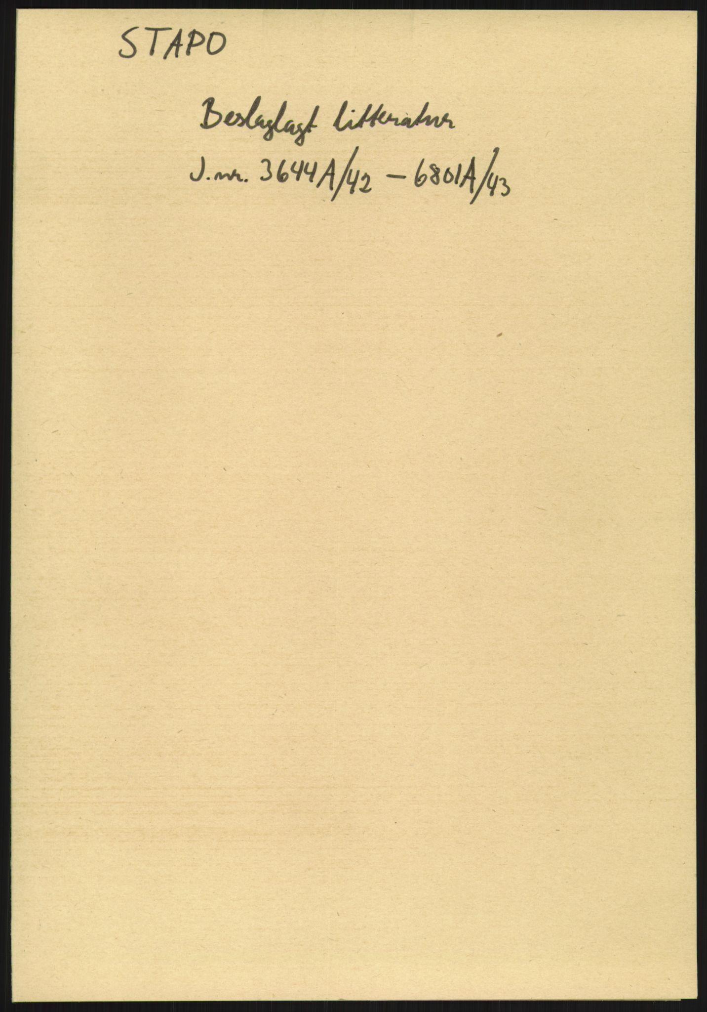 RA, Statspolitiet - Hovedkontoret / Osloavdelingen, F/L0091: Beslaglagt litteratur, 1941-1943, s. 1073
