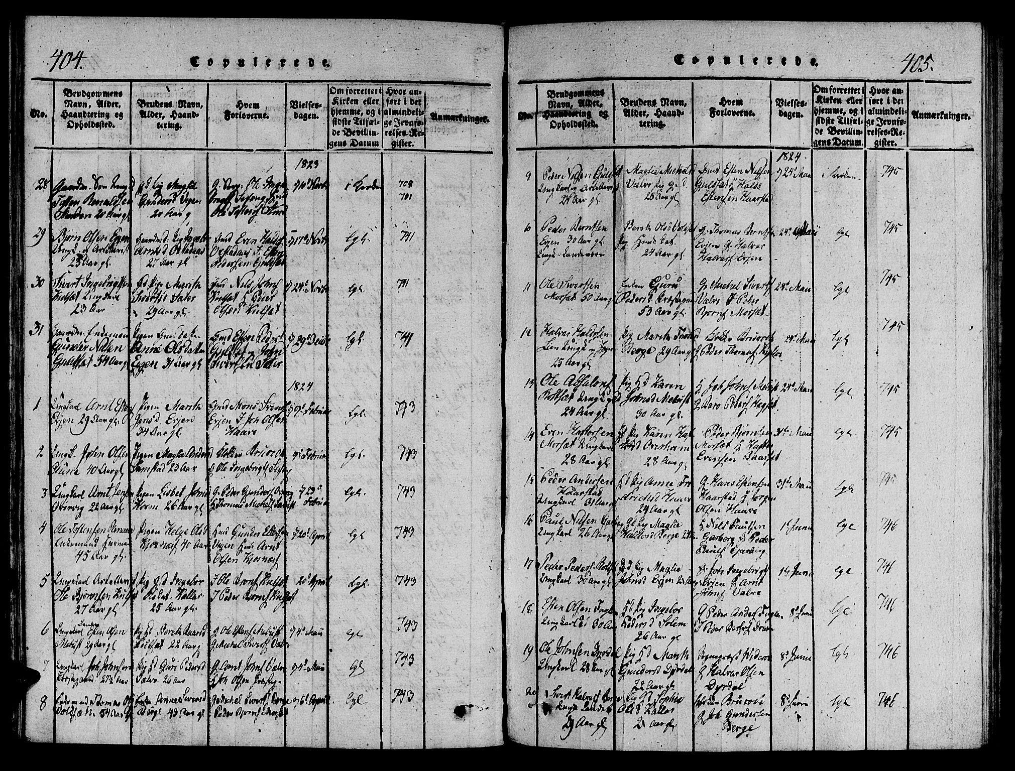 SAT, Ministerialprotokoller, klokkerbøker og fødselsregistre - Sør-Trøndelag, 695/L1141: Ministerialbok nr. 695A04 /1, 1816-1824, s. 404-405