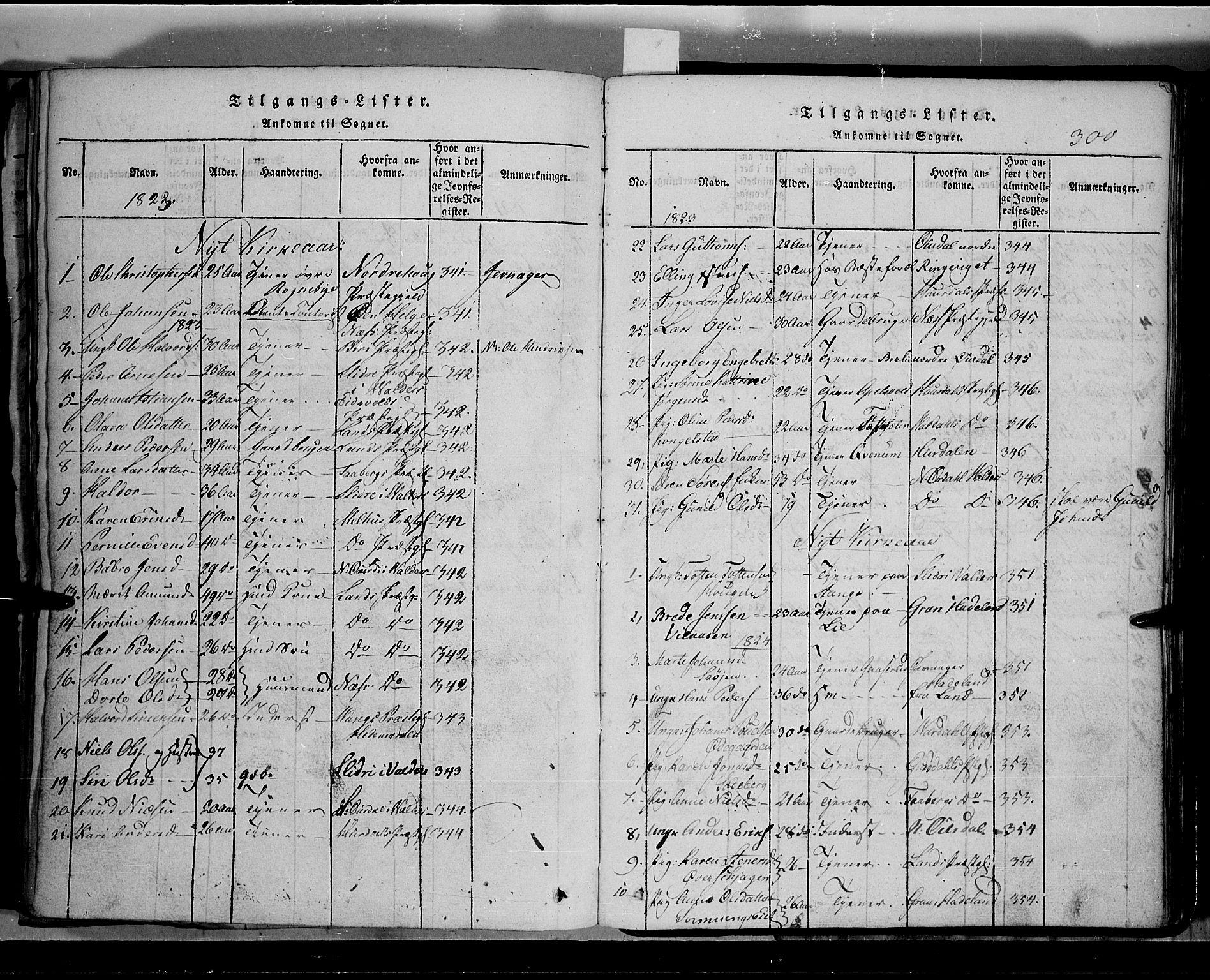 SAH, Toten prestekontor, Klokkerbok nr. 2, 1820-1827, s. 300