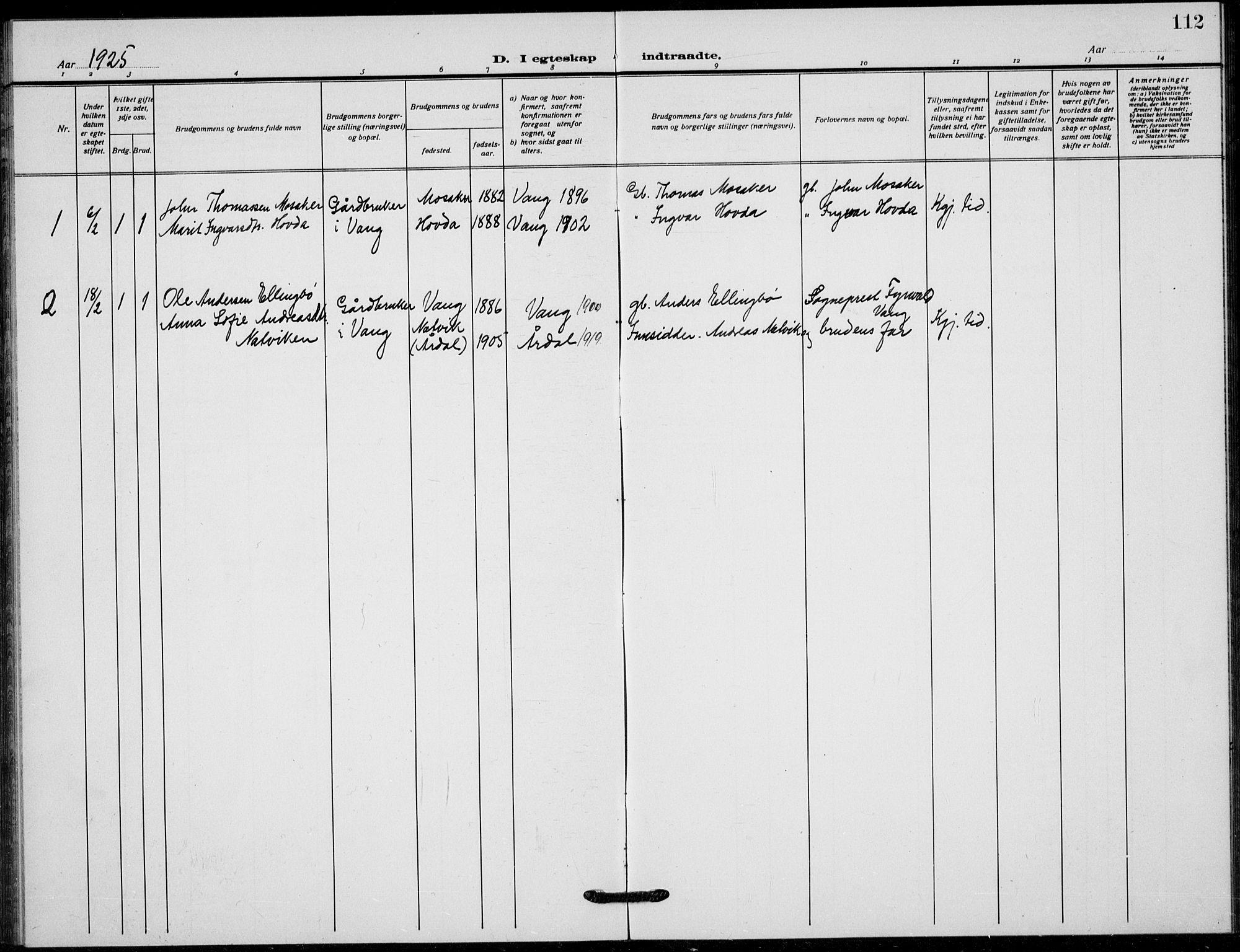SAH, Vang prestekontor, Valdres, Klokkerbok nr. 12, 1919-1937, s. 112