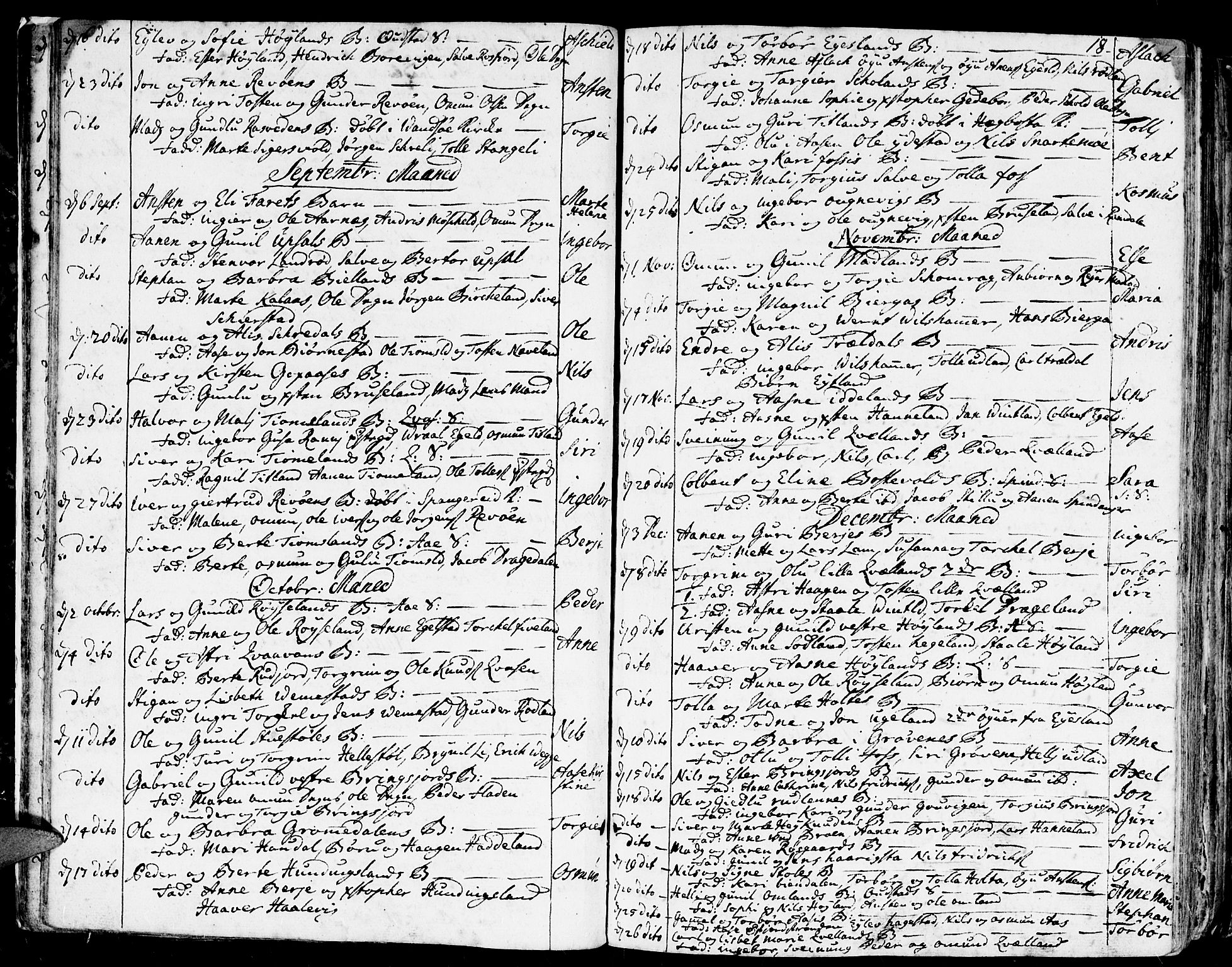 SAK, Lyngdal sokneprestkontor, F/Fa/Fac/L0001: Ministerialbok nr. A 1, 1727-1779, s. 18