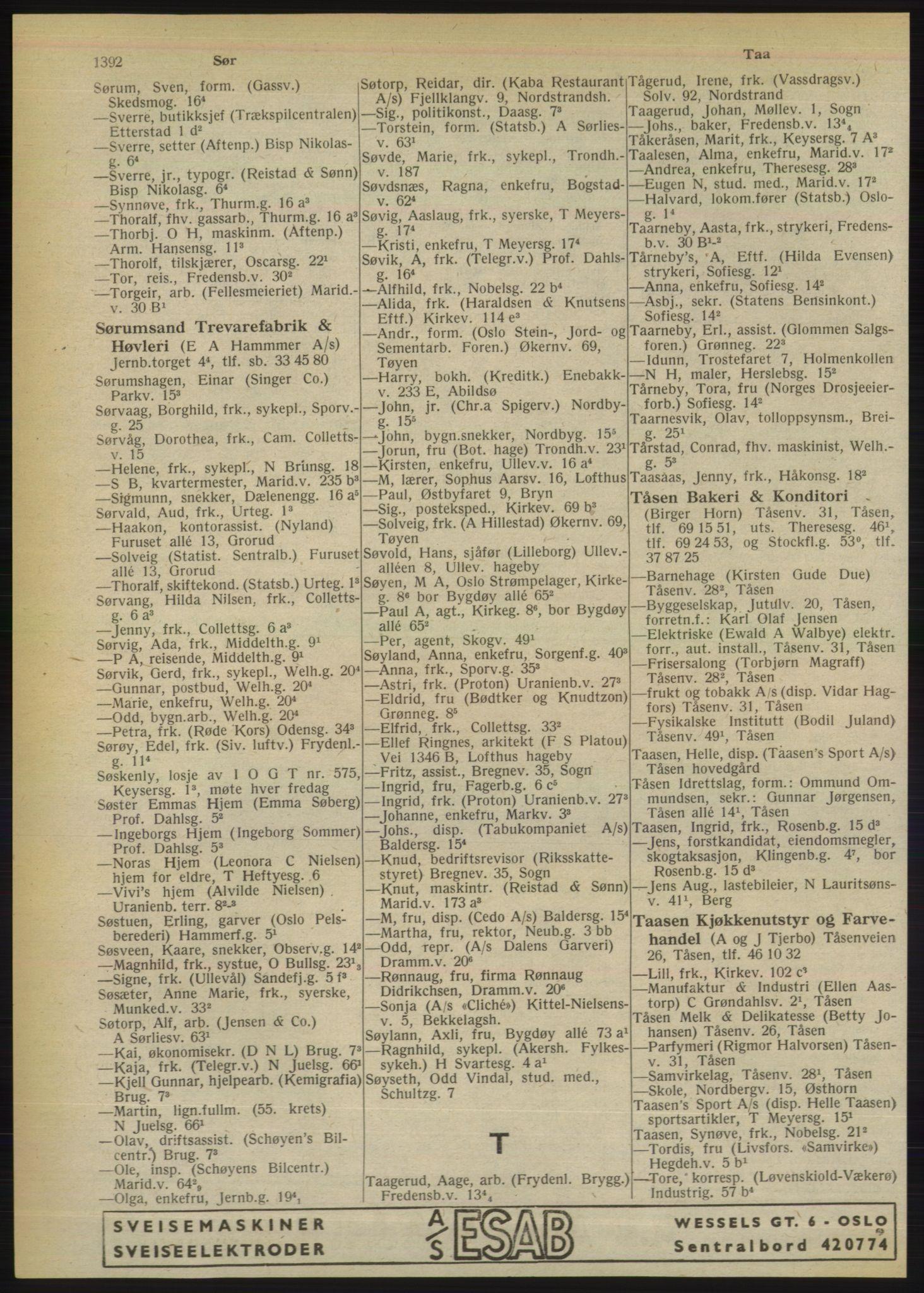 PUBL, Kristiania/Oslo adressebok, 1949, s. 1392
