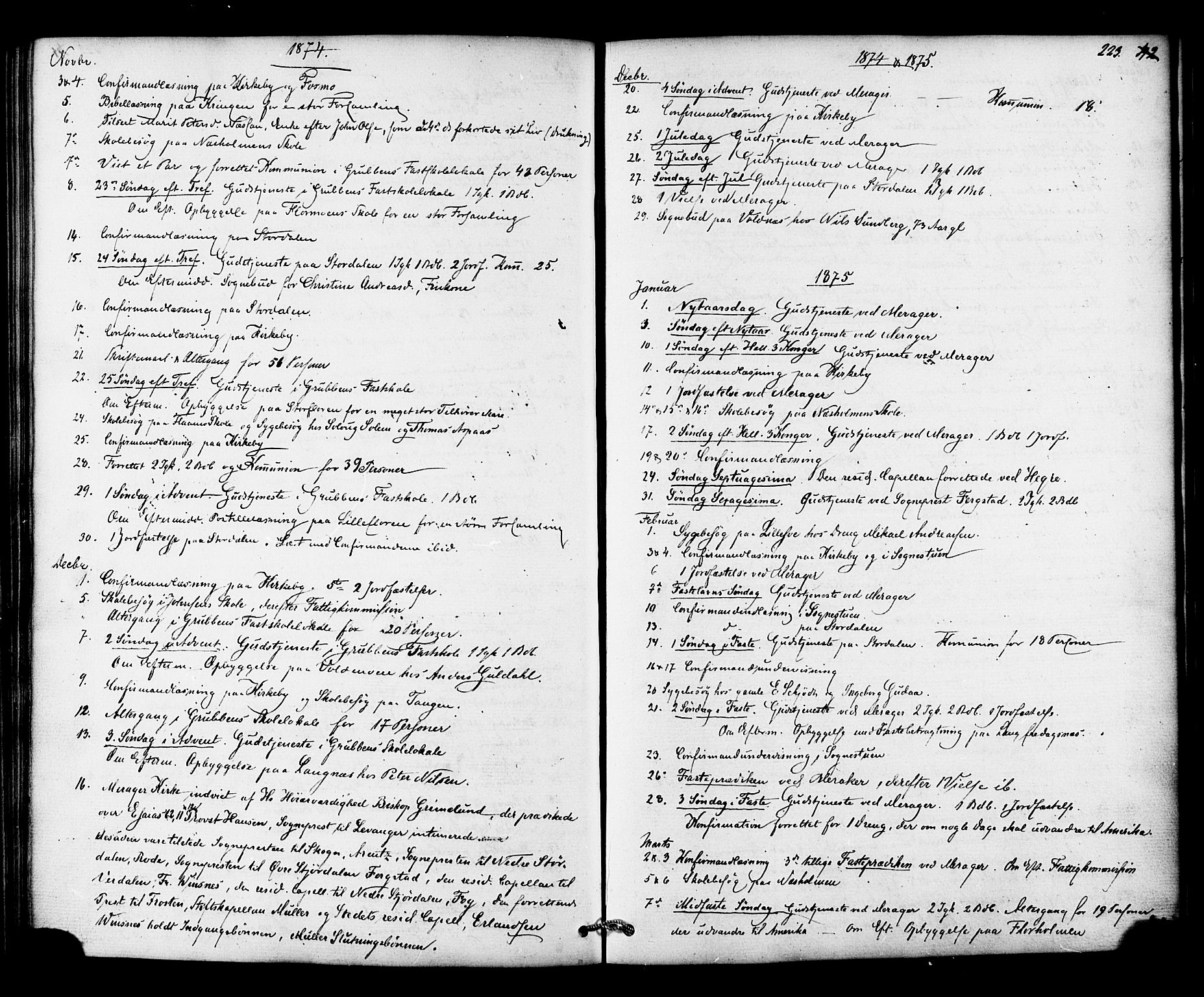 SAT, Ministerialprotokoller, klokkerbøker og fødselsregistre - Nord-Trøndelag, 706/L0041: Ministerialbok nr. 706A02, 1862-1877, s. 223