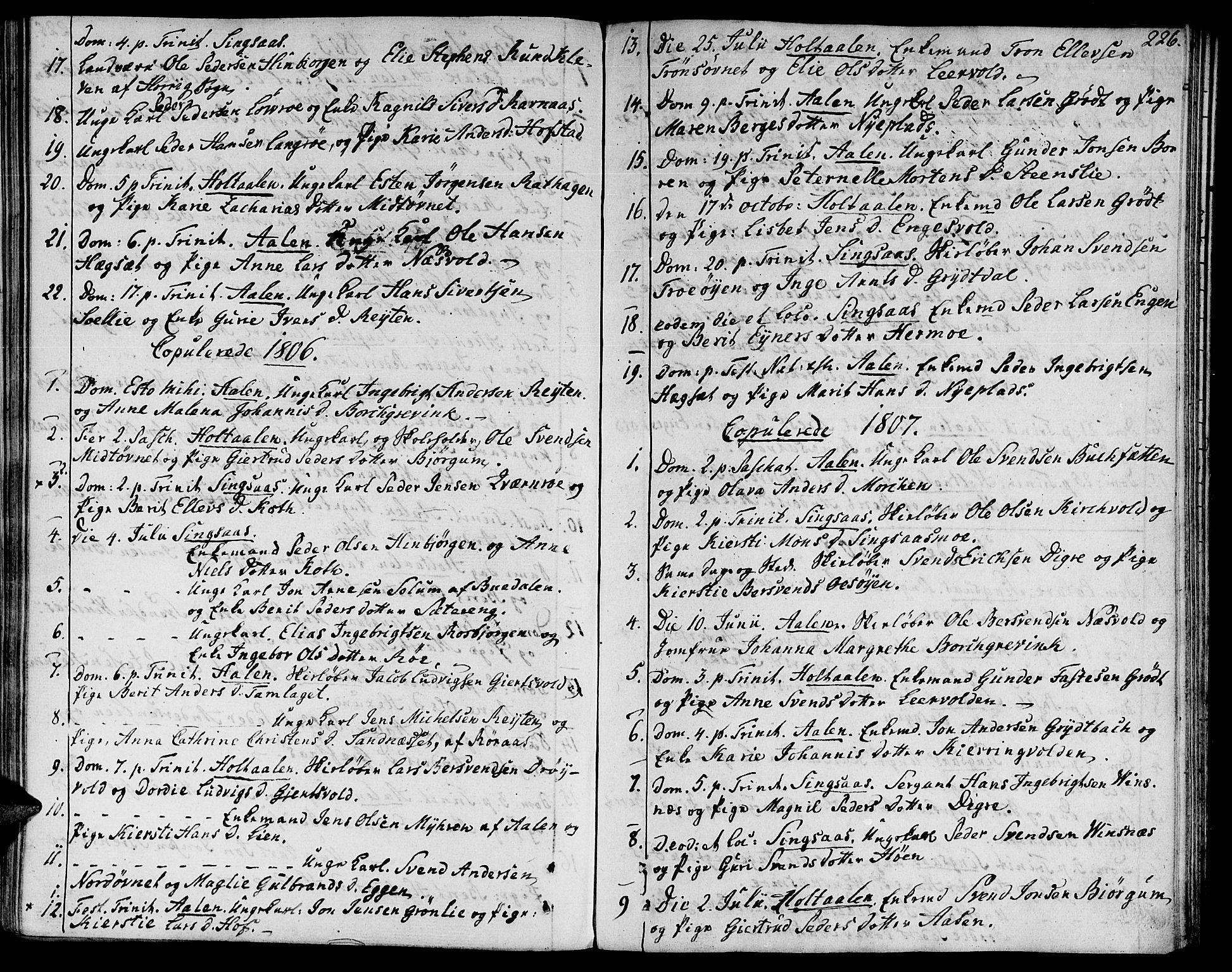 SAT, Ministerialprotokoller, klokkerbøker og fødselsregistre - Sør-Trøndelag, 685/L0953: Ministerialbok nr. 685A02, 1805-1816, s. 226