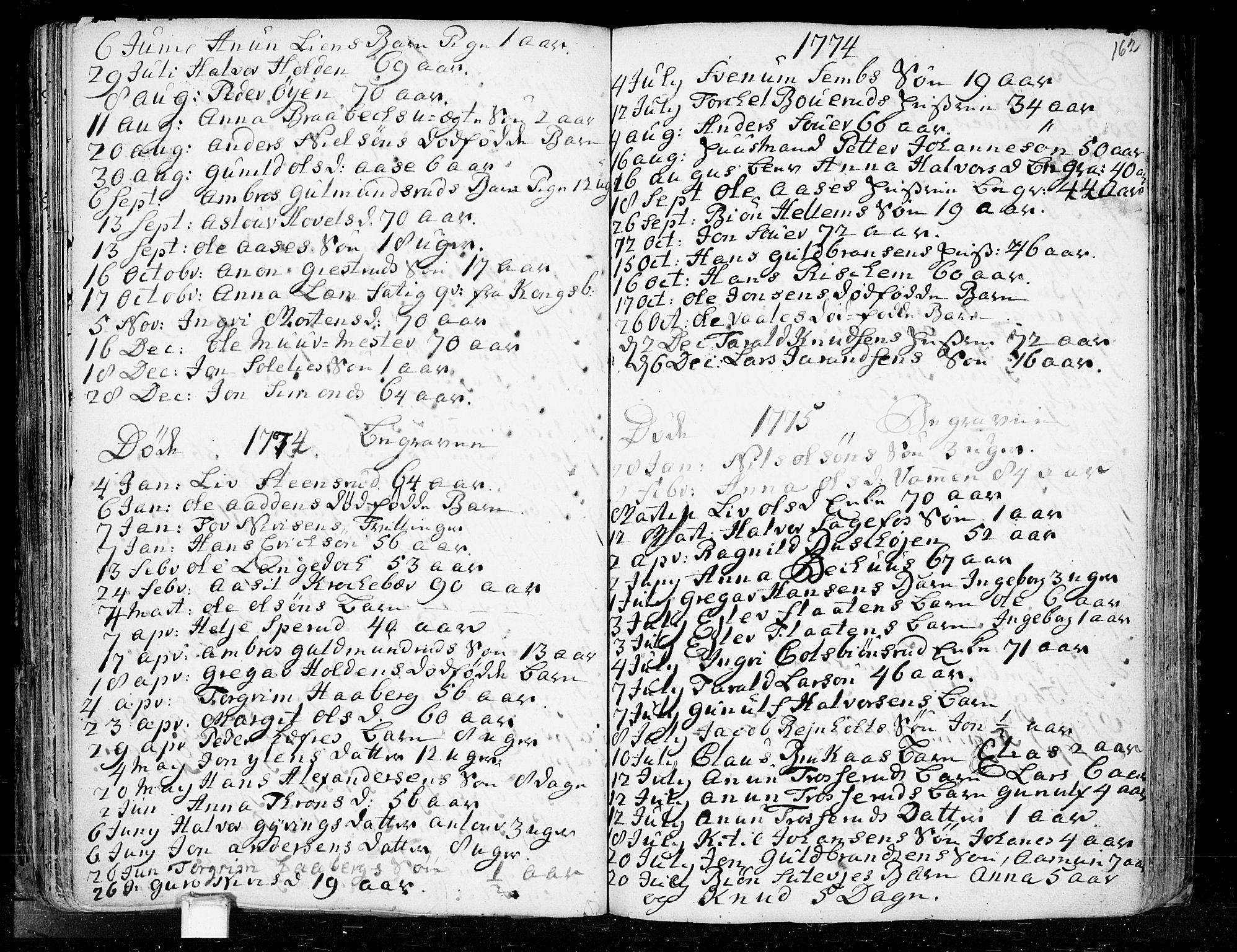 SAKO, Heddal kirkebøker, F/Fa/L0003: Ministerialbok nr. I 3, 1723-1783, s. 162