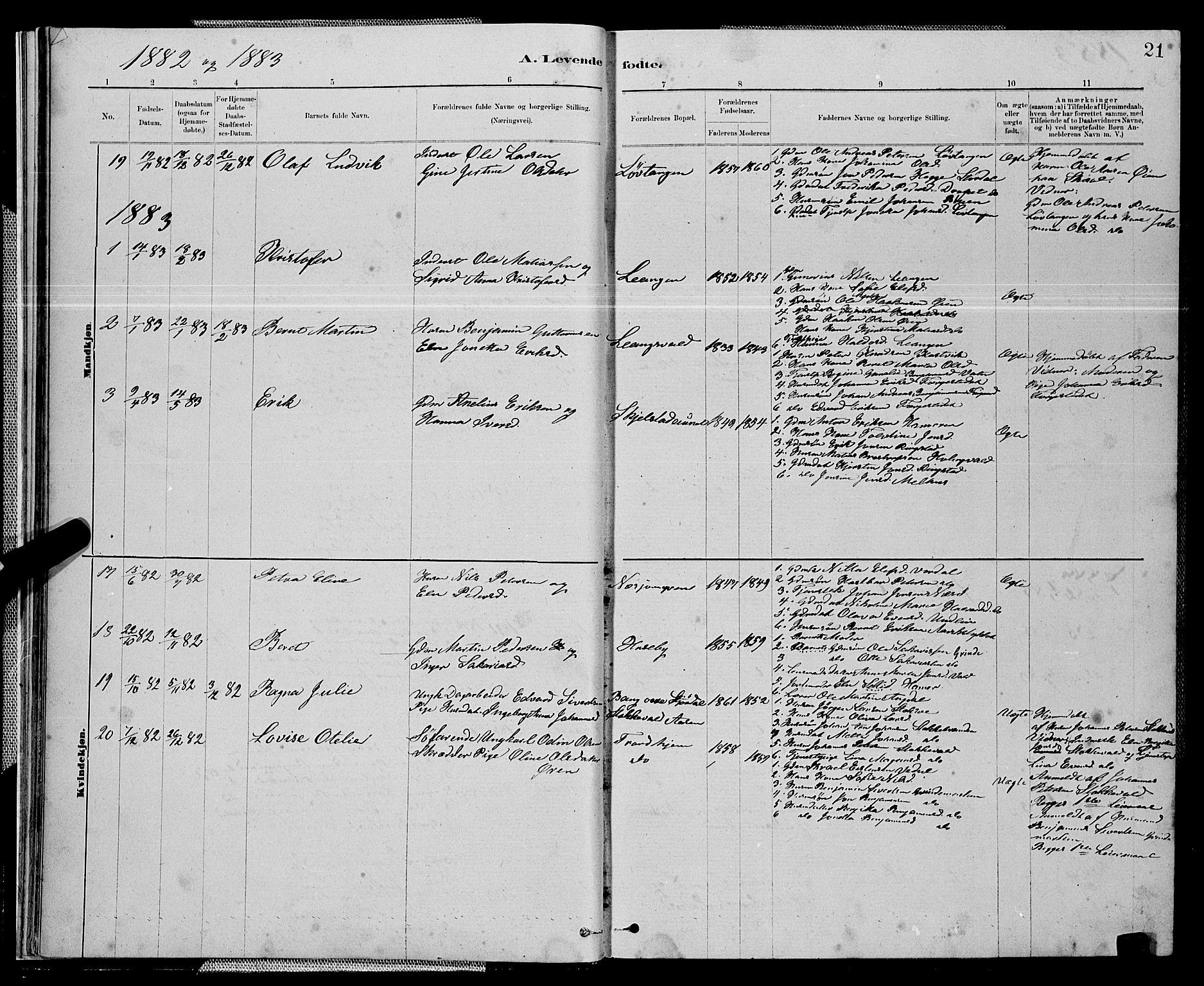 SAT, Ministerialprotokoller, klokkerbøker og fødselsregistre - Nord-Trøndelag, 714/L0134: Klokkerbok nr. 714C03, 1878-1898, s. 21