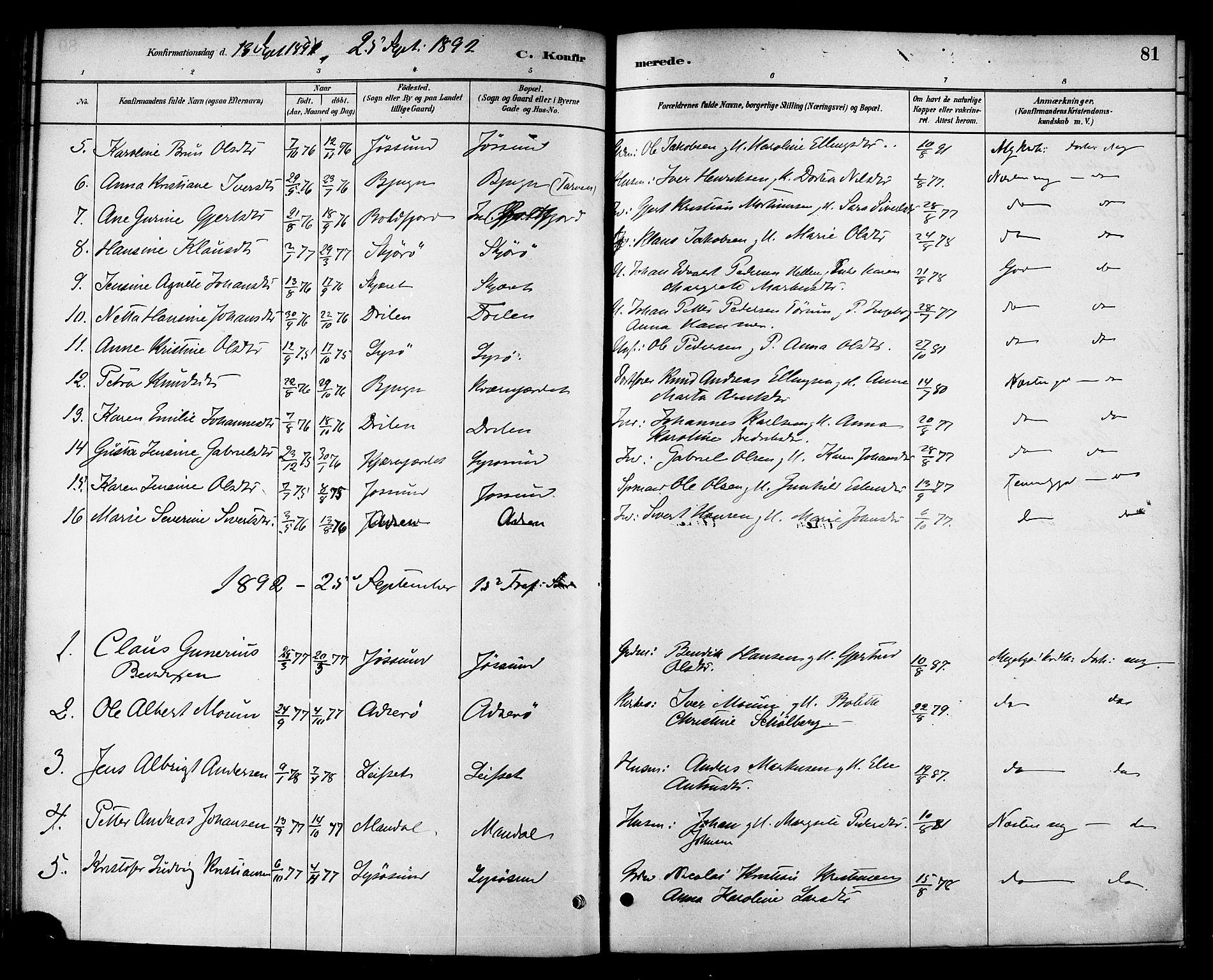 SAT, Ministerialprotokoller, klokkerbøker og fødselsregistre - Sør-Trøndelag, 654/L0663: Ministerialbok nr. 654A01, 1880-1894, s. 81