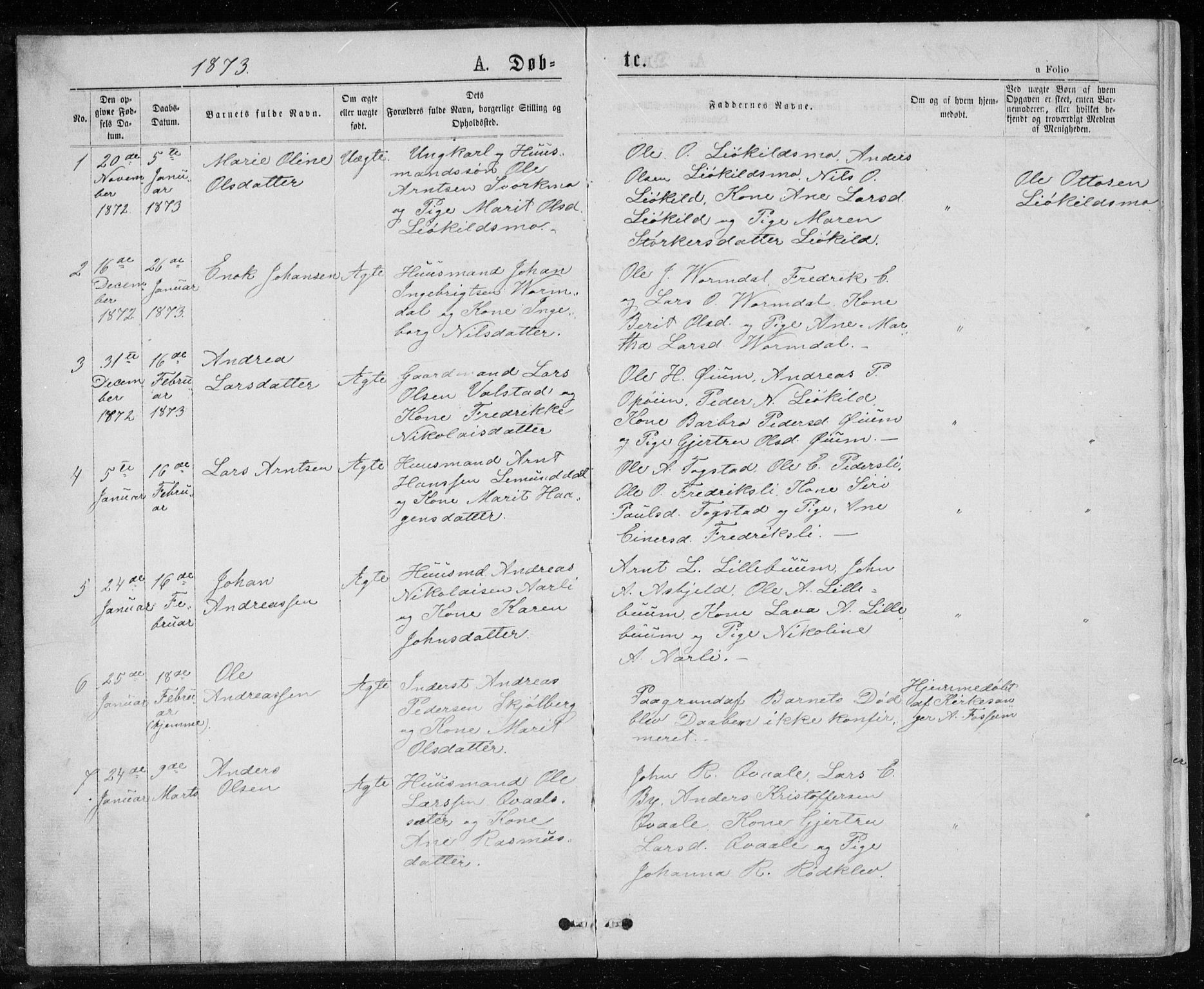 SAT, Ministerialprotokoller, klokkerbøker og fødselsregistre - Sør-Trøndelag, 671/L0843: Klokkerbok nr. 671C02, 1873-1892, s. 1