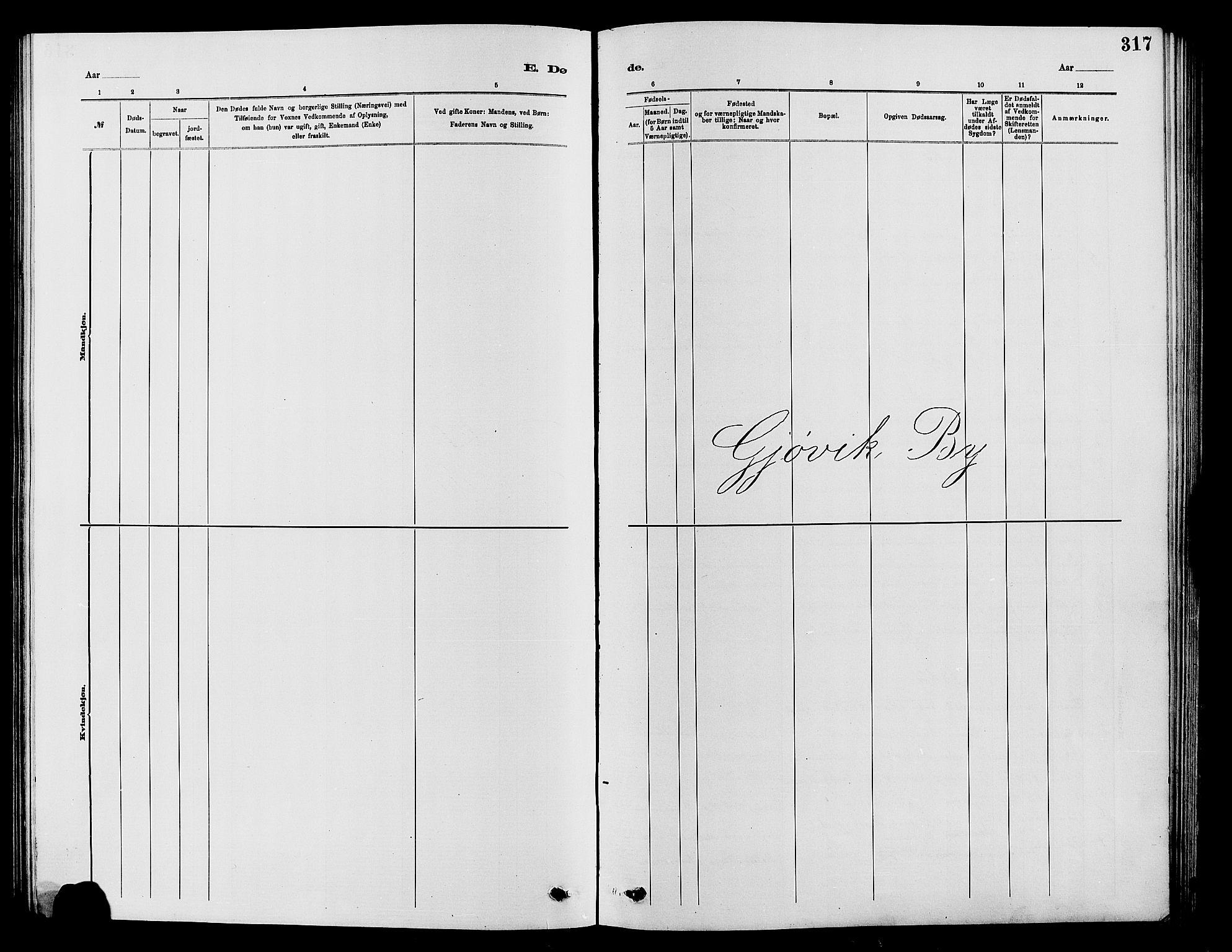 SAH, Vardal prestekontor, H/Ha/Hab/L0007: Klokkerbok nr. 7 /2, 1881-1895, s. 317