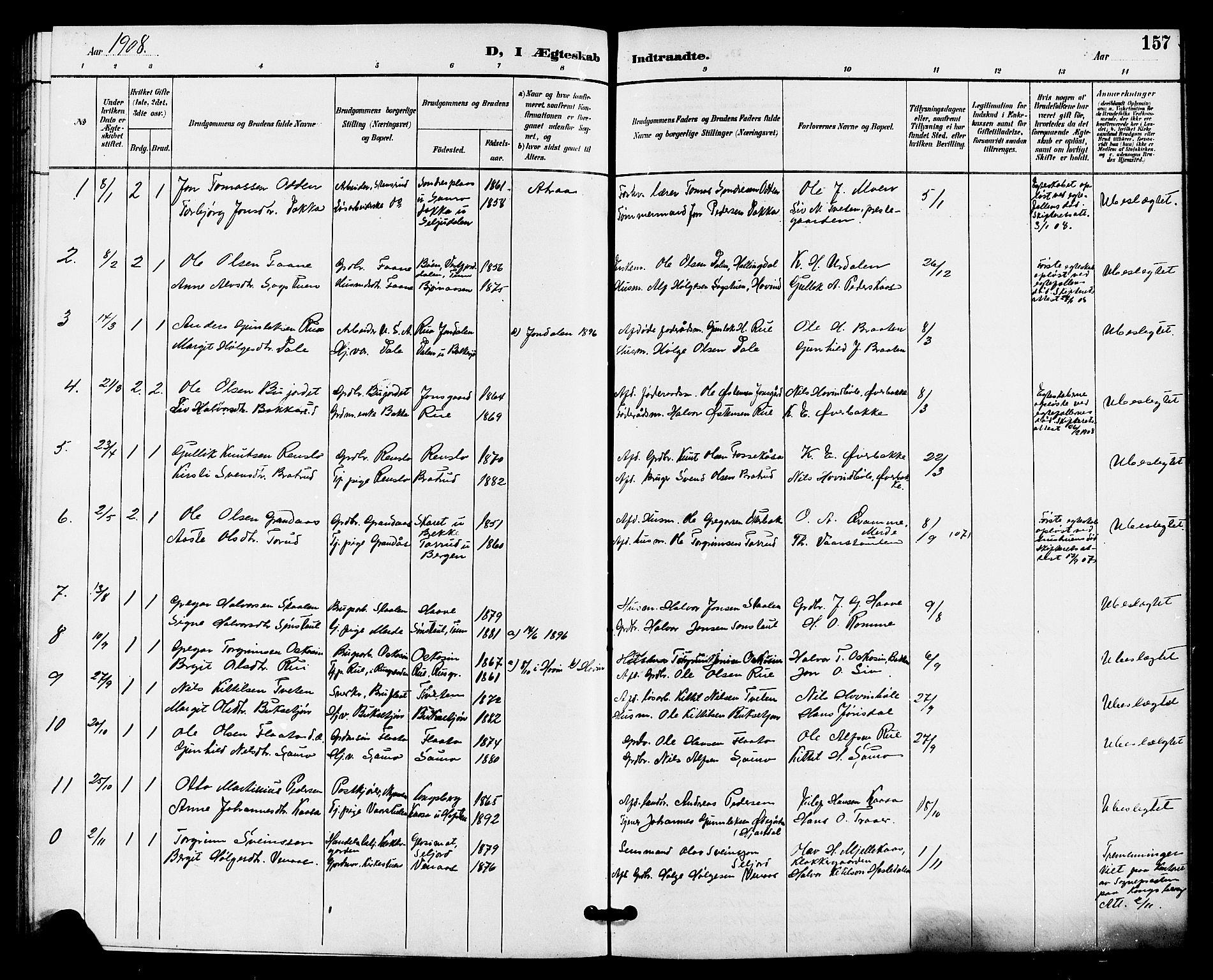 SAKO, Gransherad kirkebøker, G/Ga/L0003: Klokkerbok nr. I 3, 1887-1915, s. 157