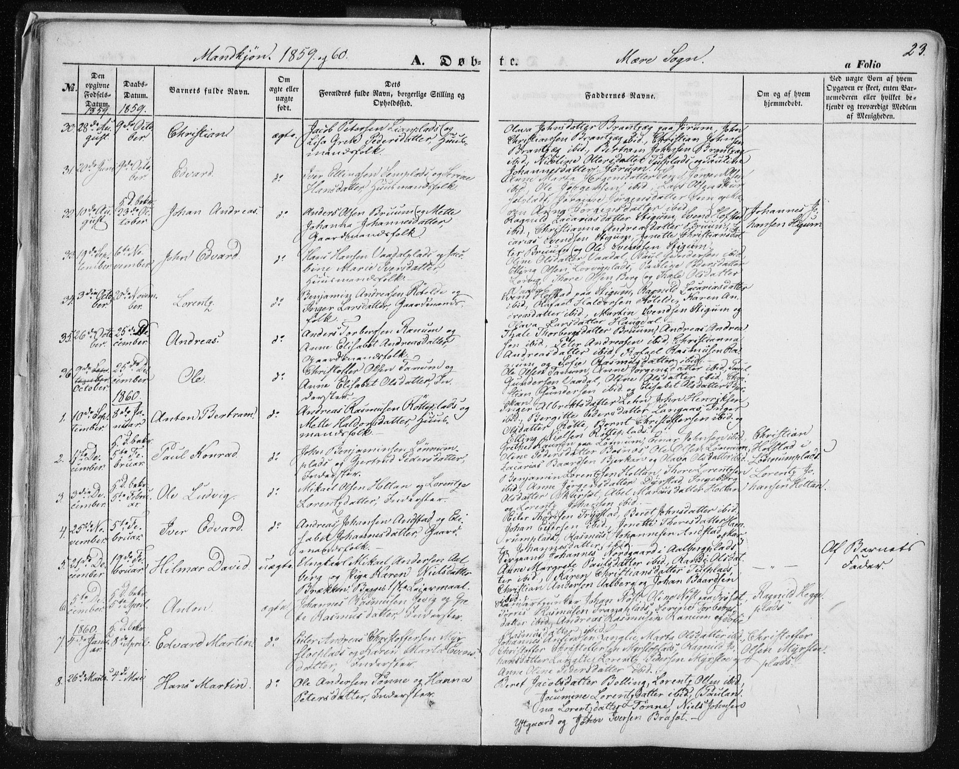 SAT, Ministerialprotokoller, klokkerbøker og fødselsregistre - Nord-Trøndelag, 735/L0342: Ministerialbok nr. 735A07 /1, 1849-1862, s. 23